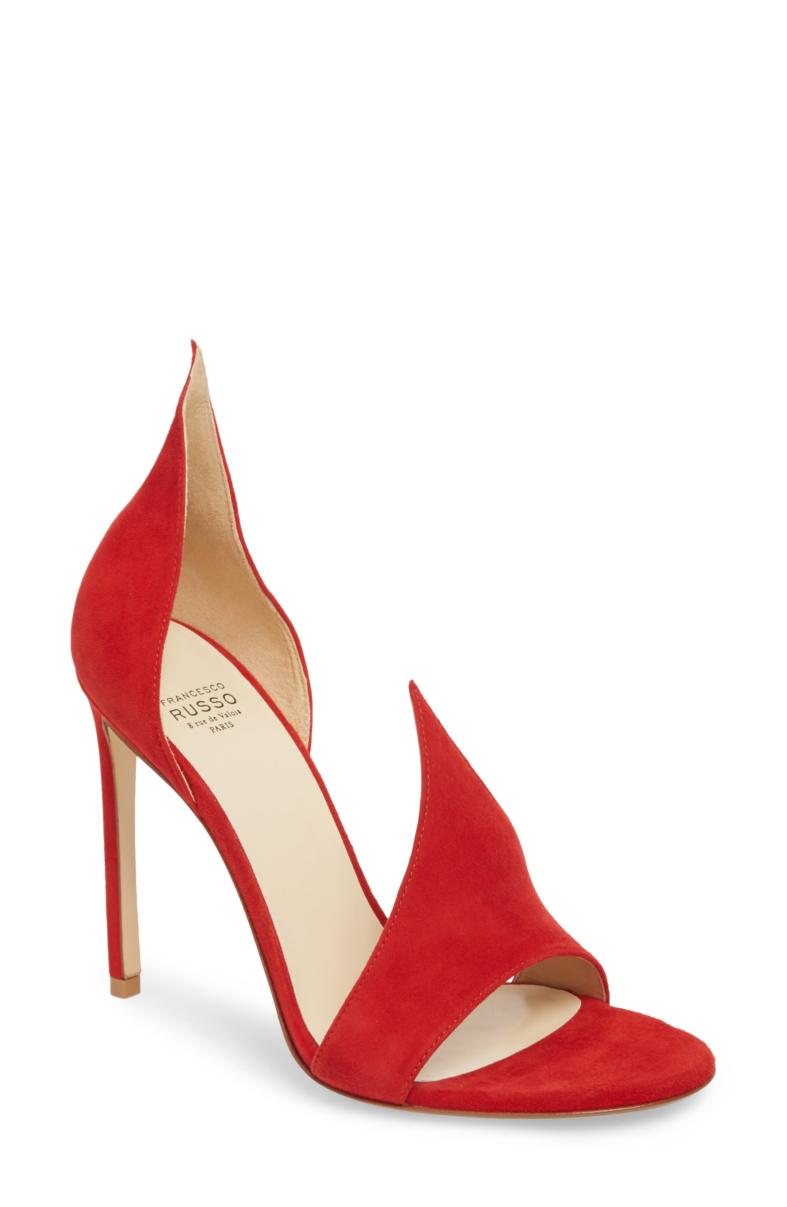 Flame Sandal,                         Main,                         color, Red Suede