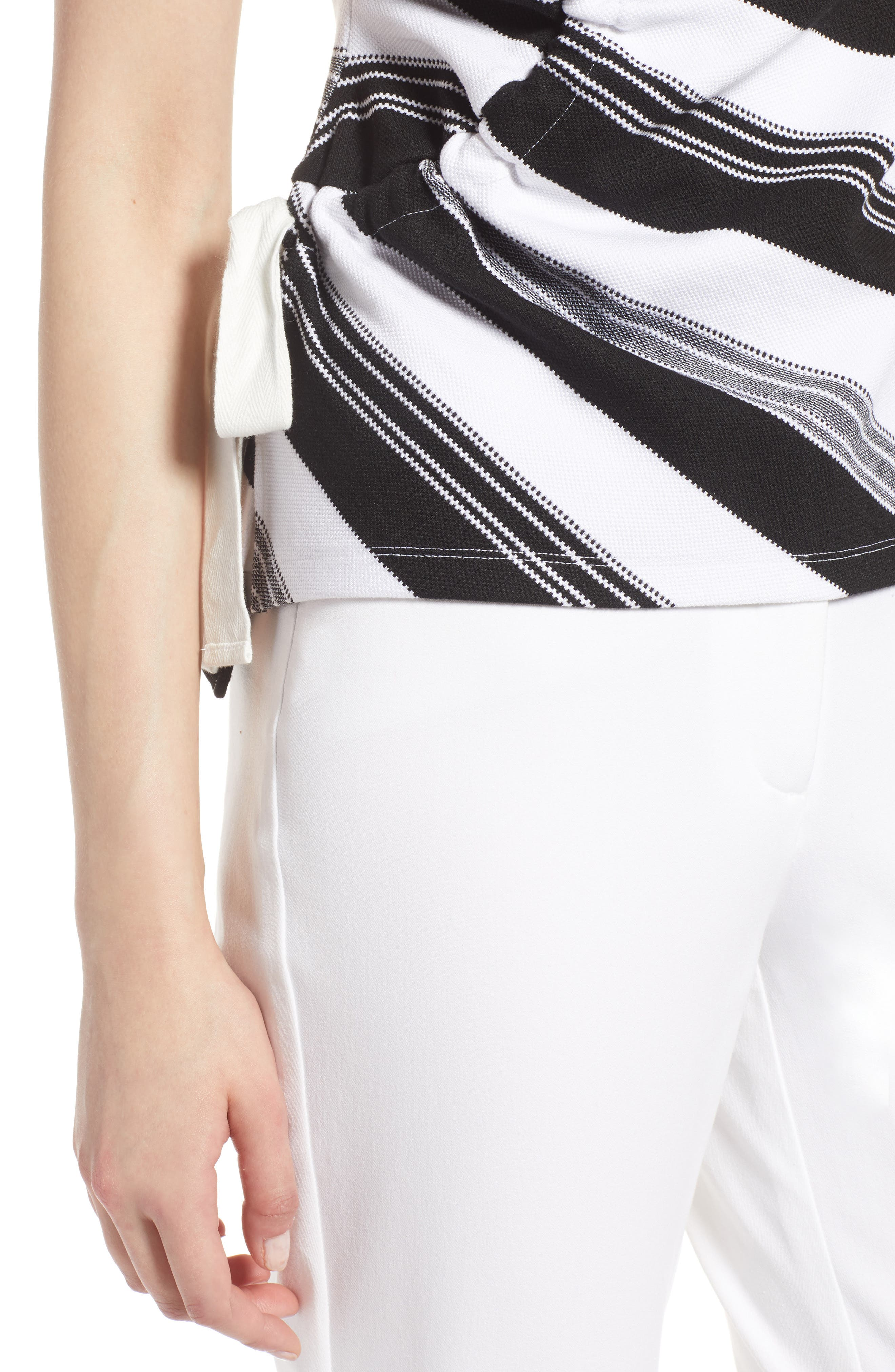 Ruched Stripe Tank Top,                             Alternate thumbnail 4, color,                             Black- Ivory Stripe