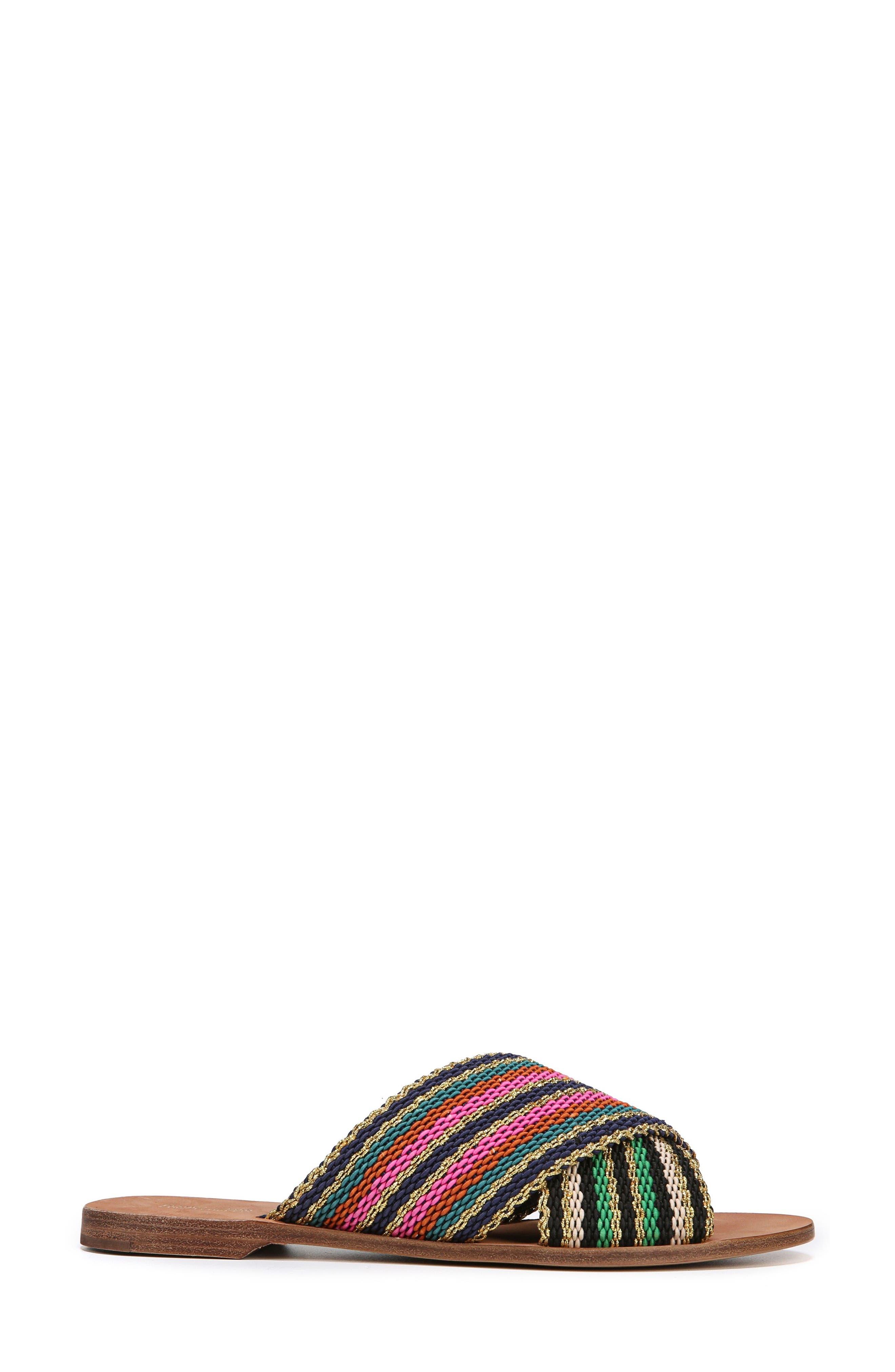 Cindi Woven Slide Sandal,                             Alternate thumbnail 3, color,                             Black/ Gold