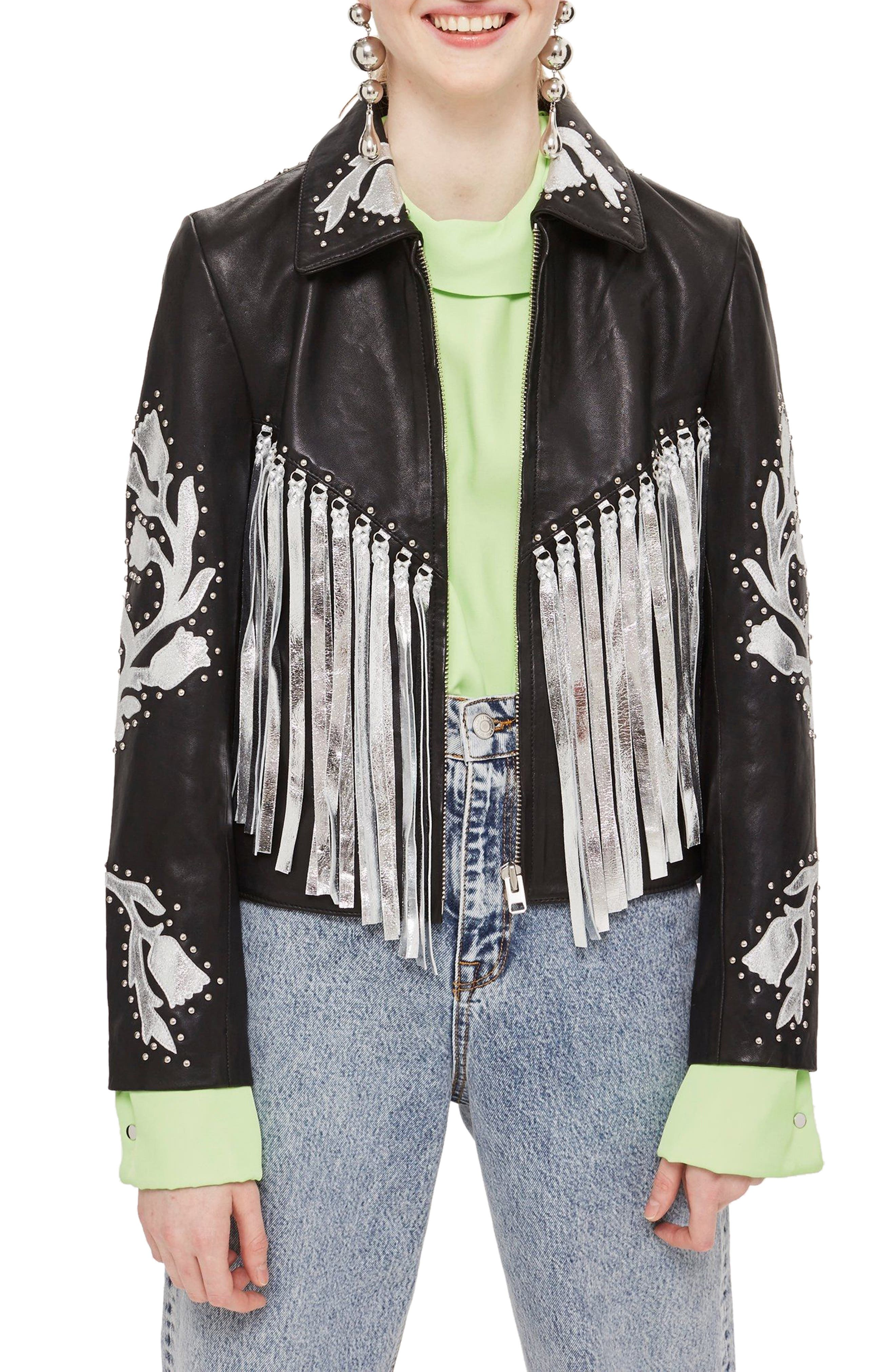 Austin Floral Silver Fringed Leather Jacket,                             Main thumbnail 1, color,                             Black Multi