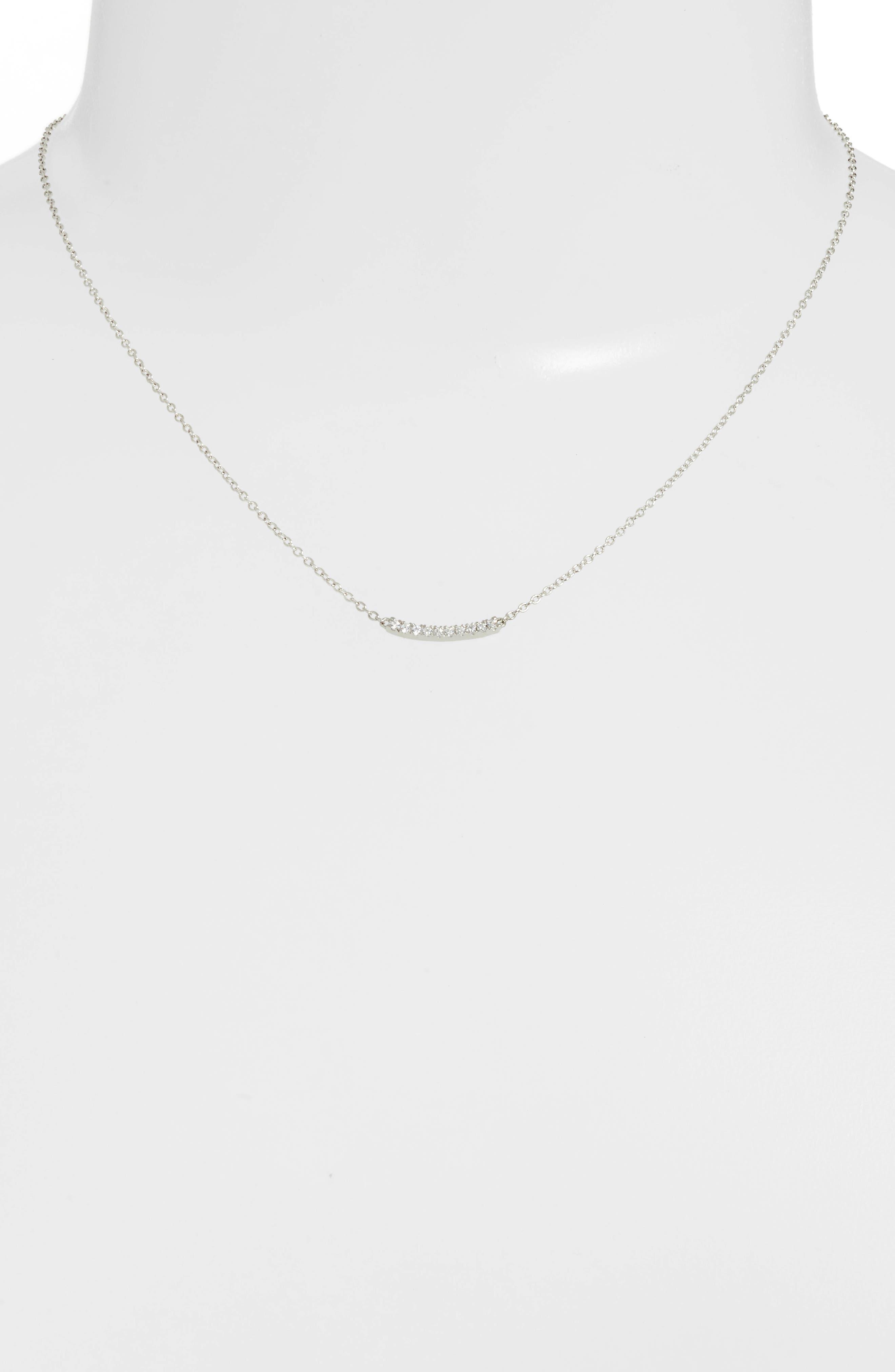 Pavé Curved Bar Pendant Necklace,                             Alternate thumbnail 2, color,                             Platinum