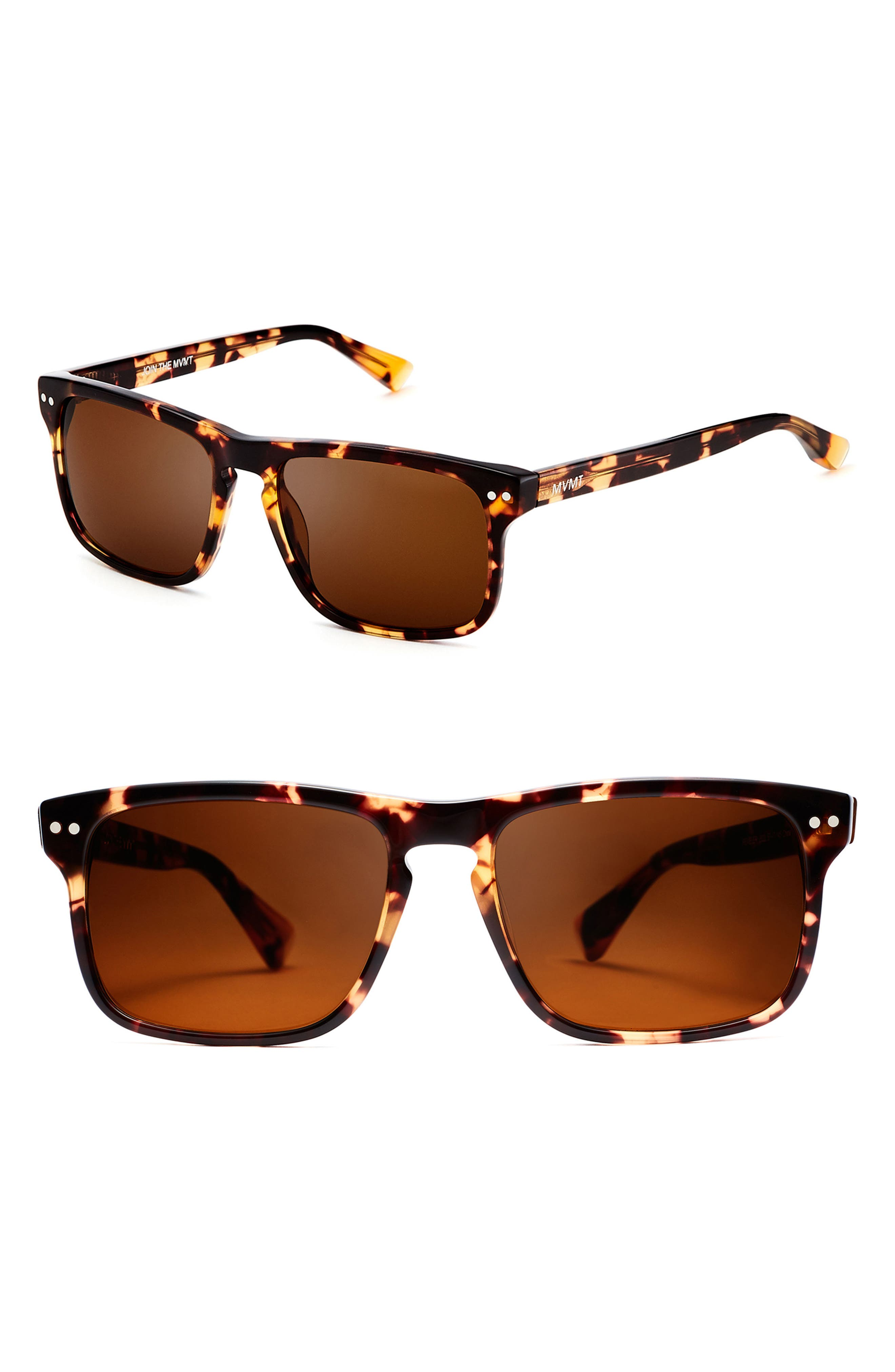 Reveler 57mm Polarized Sunglasses,                             Main thumbnail 1, color,                             Amber Tortoise