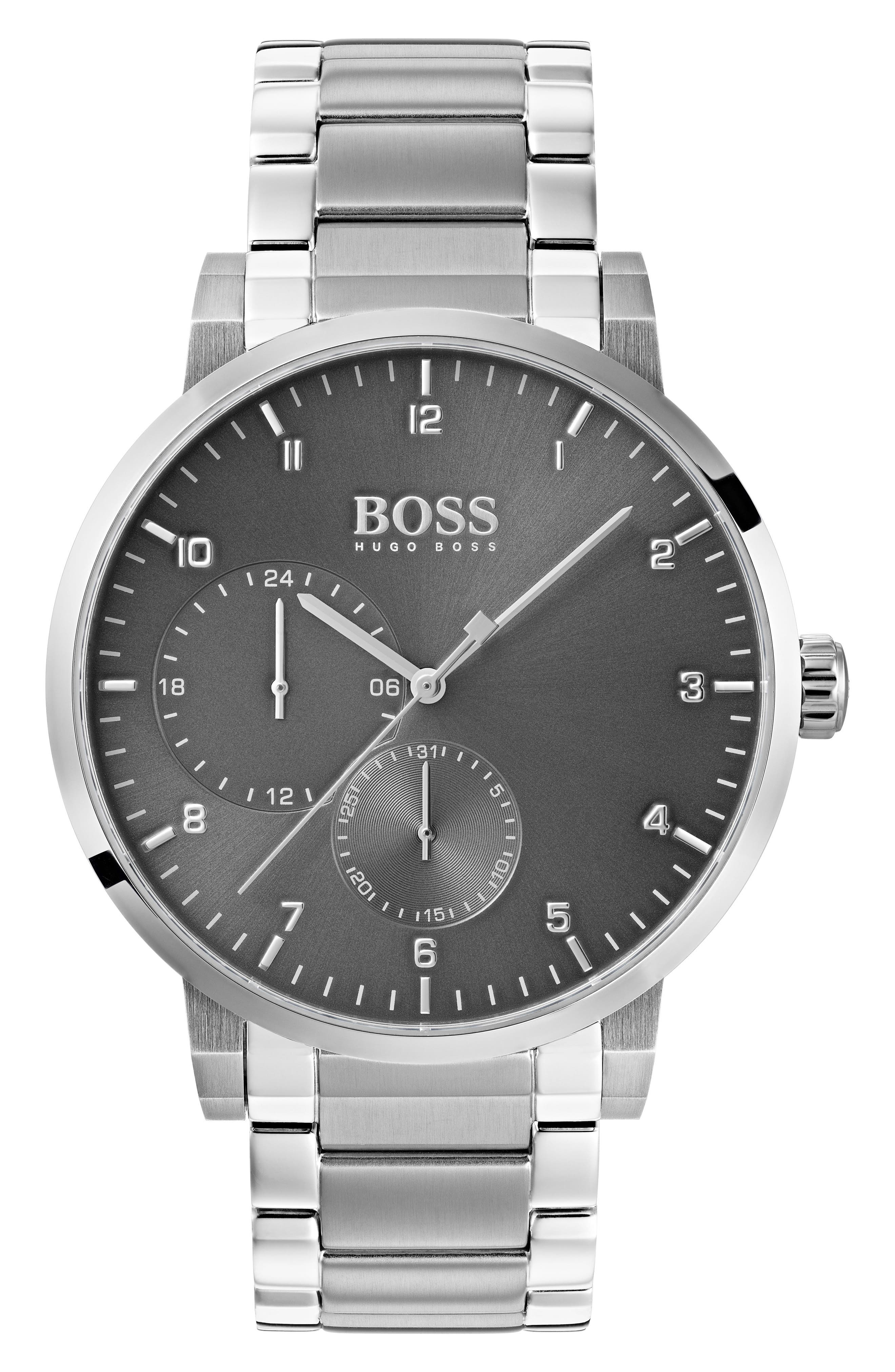 Oxygen Chronograph Bracelet Watch, 42mm,                             Main thumbnail 1, color,                             Grey/ Stainless