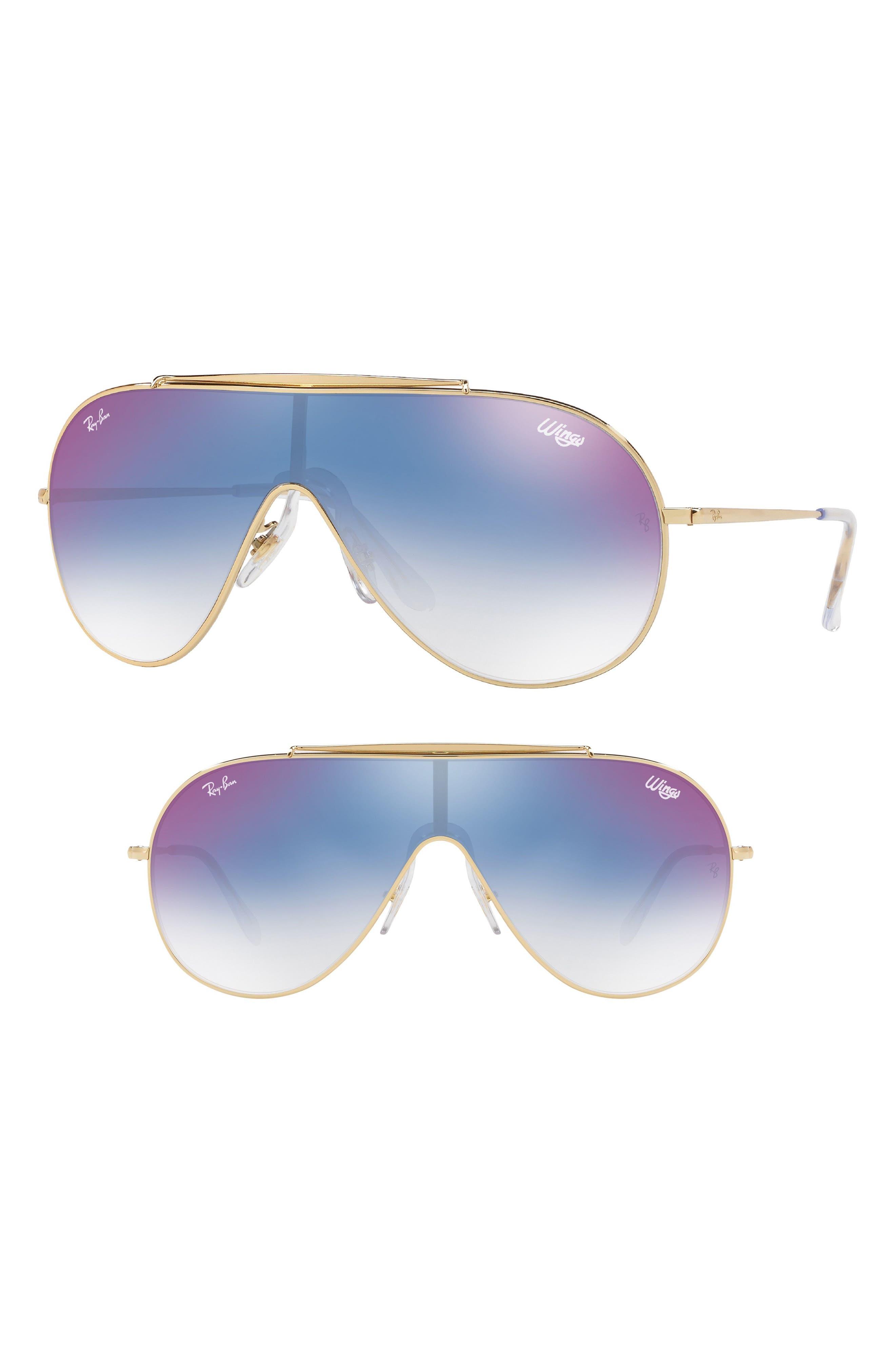 133mm Shield Sunglasses,                             Main thumbnail 1, color,                             Purple/ Blue Gradient Mirror