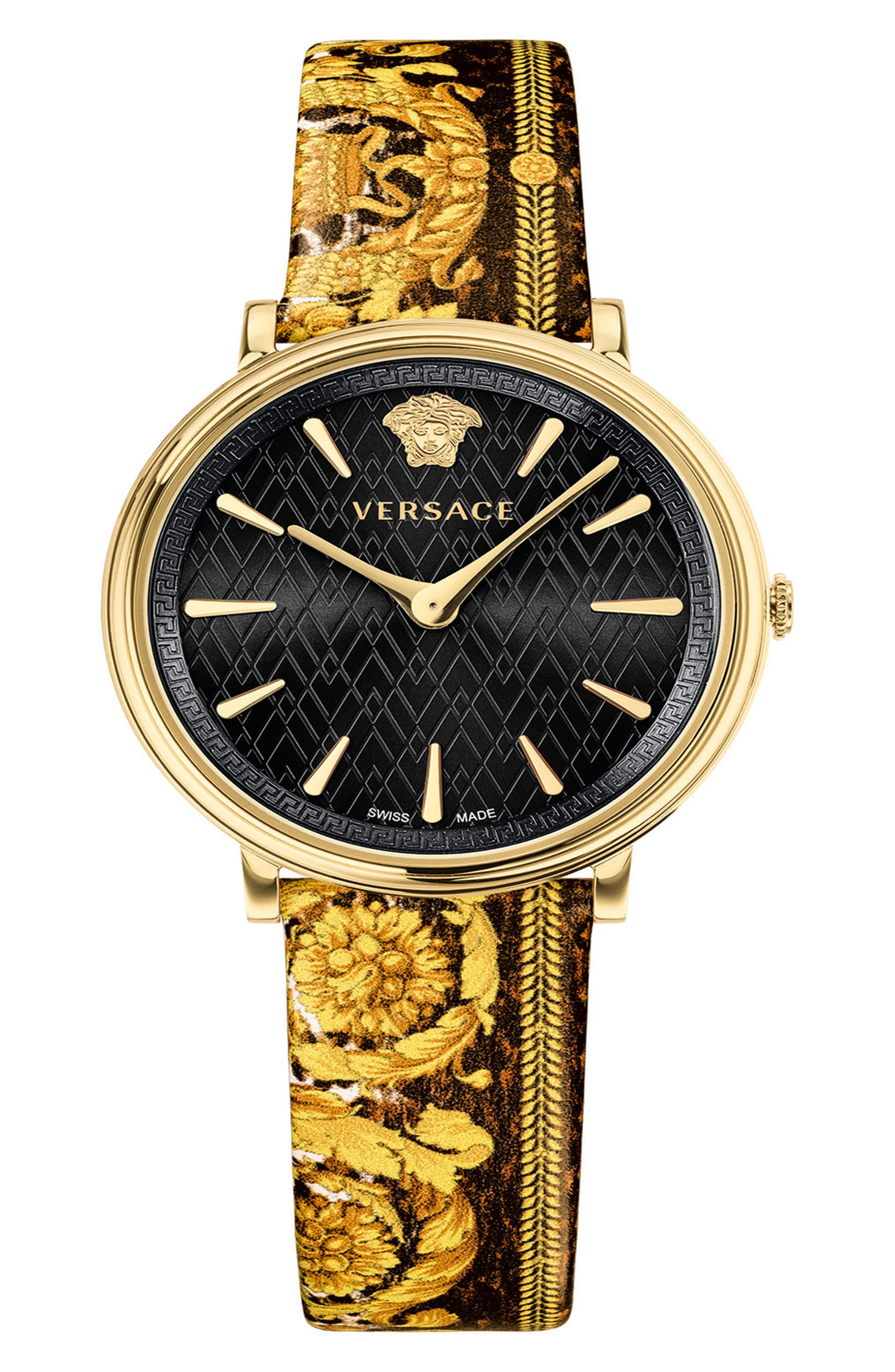 Tribute Collection Leather Strap Watch, 38mm,                         Main,                         color, Black/ Gold