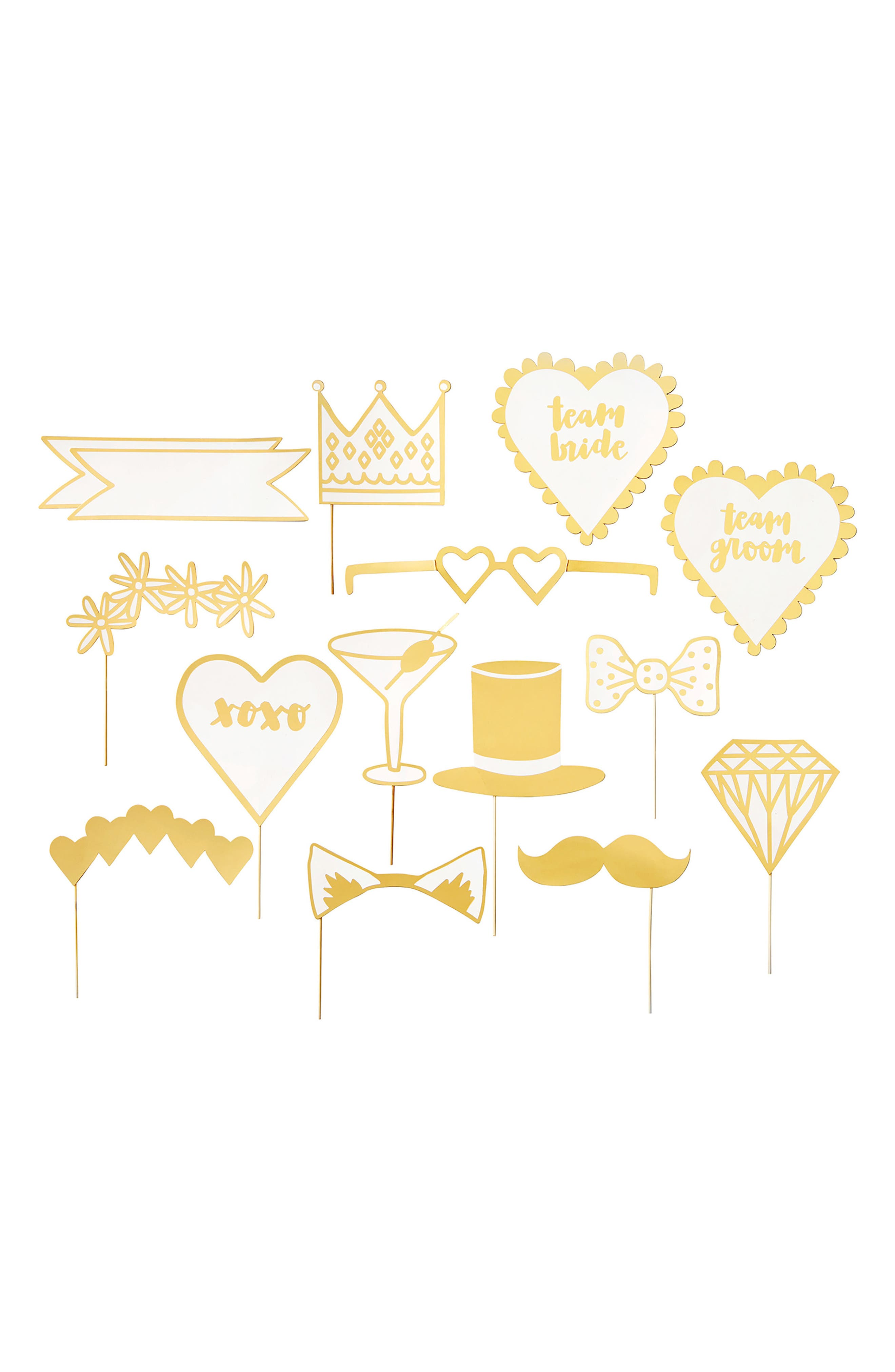 15-Piece Wedding Photo Booth Prop Set,                         Main,                         color, White