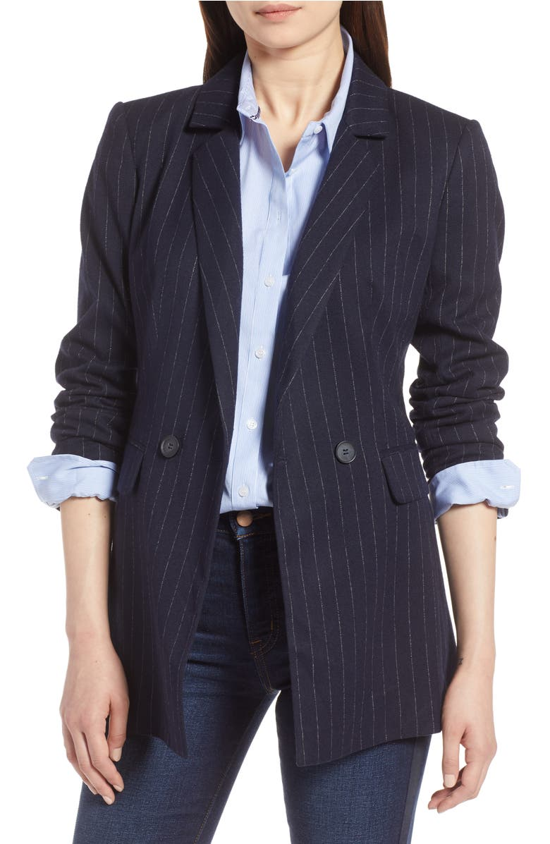 Double Breasted Blazer,                         Main,                         color, Navy Chalk Stripe