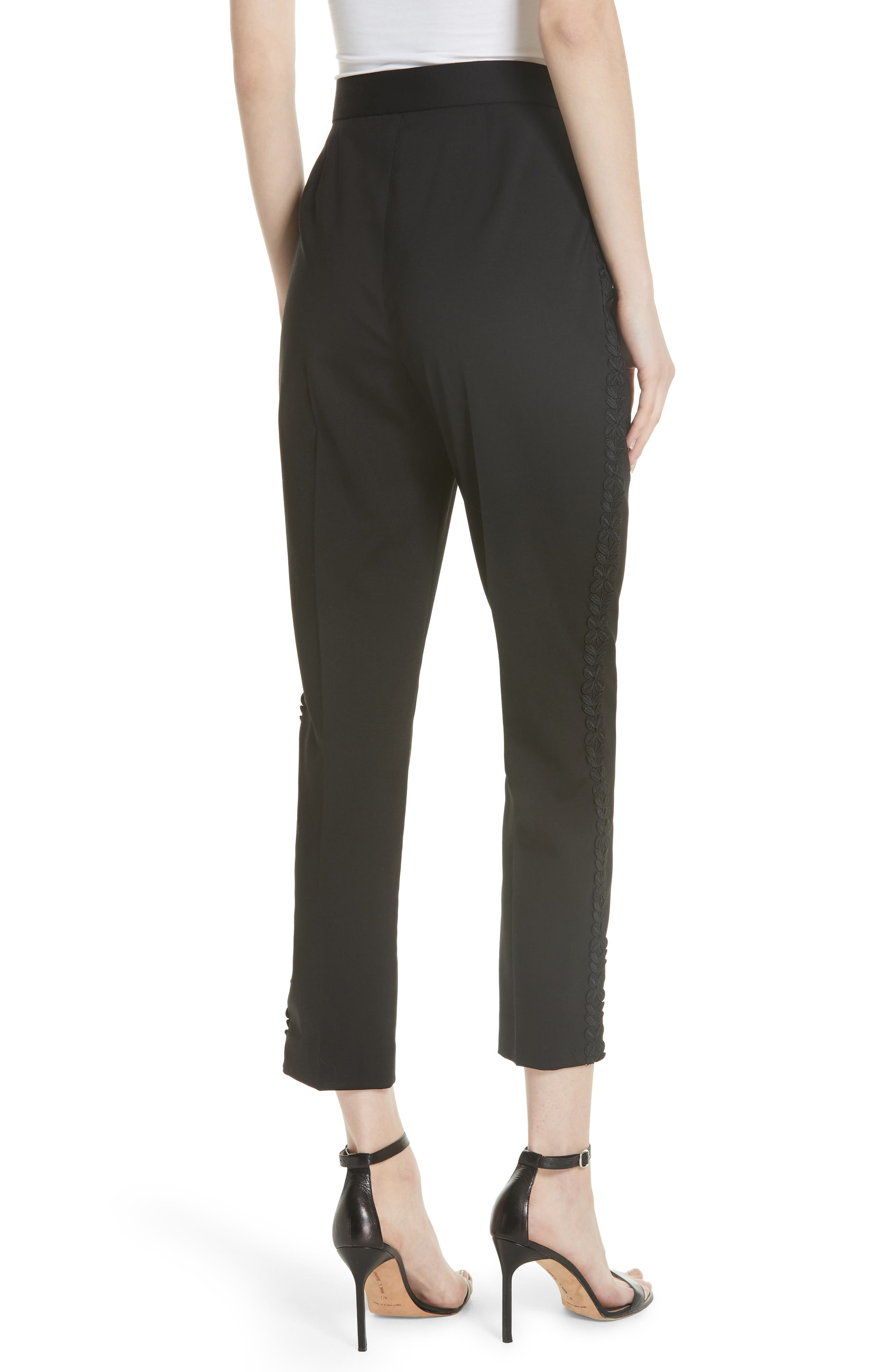 Flower Trim Italian Stretch Wool Pants,                             Alternate thumbnail 2, color,                             Black