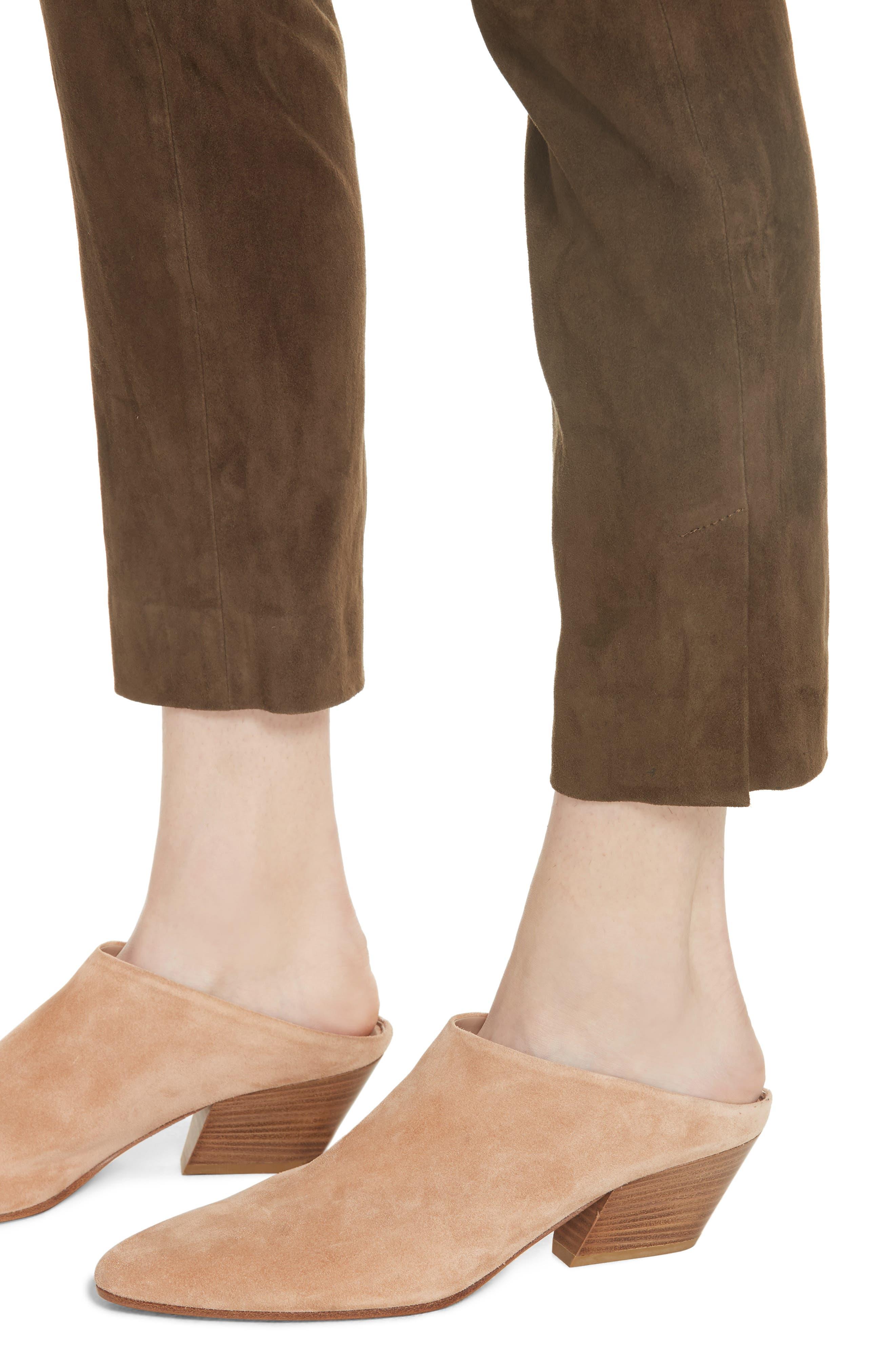 Stretch Suede Split Hem Crop Pants,                             Alternate thumbnail 5, color,                             Elmwood