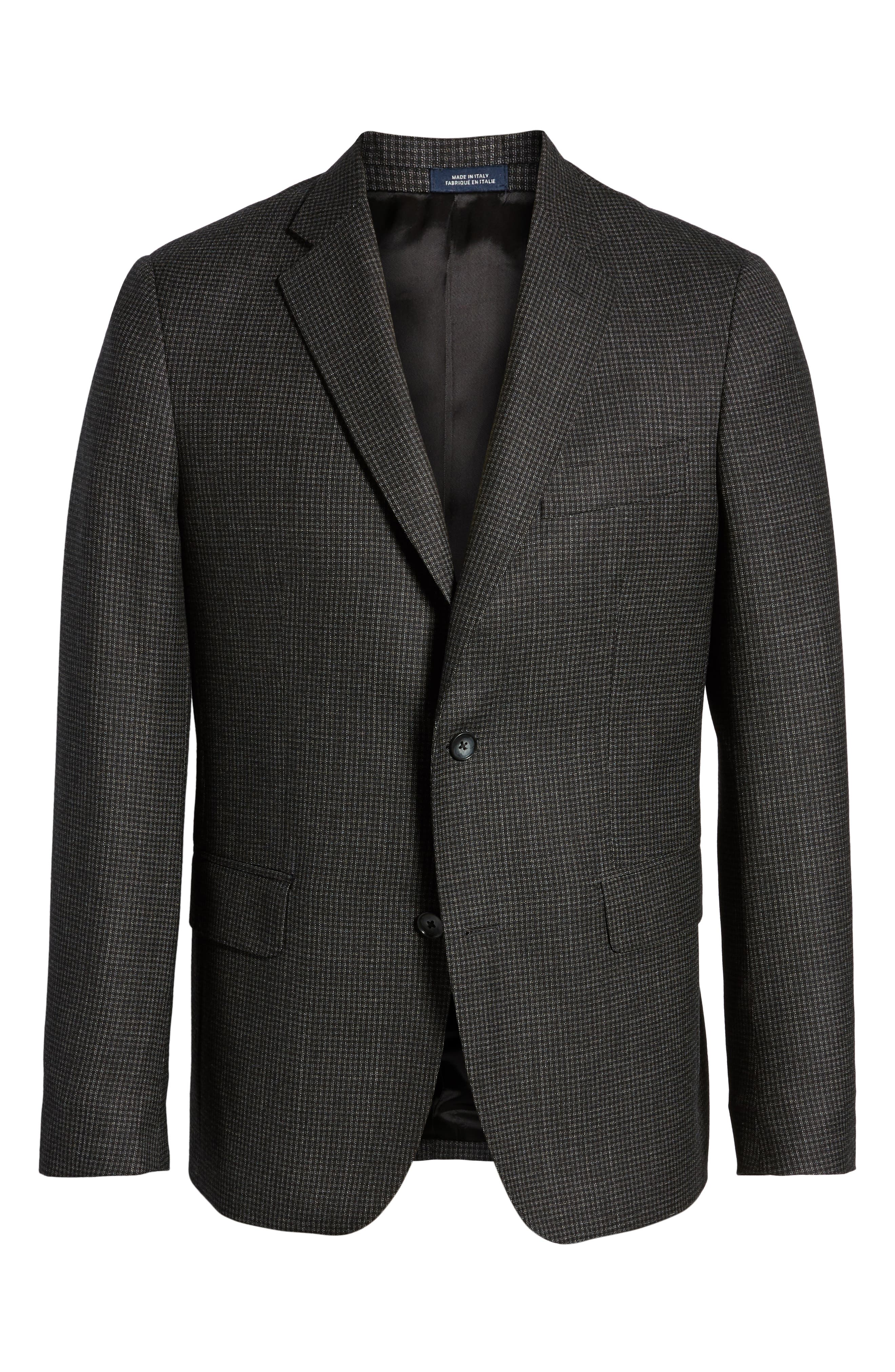Traditional Fit Microcheck Wool Sport Coat,                             Alternate thumbnail 5, color,                             Black