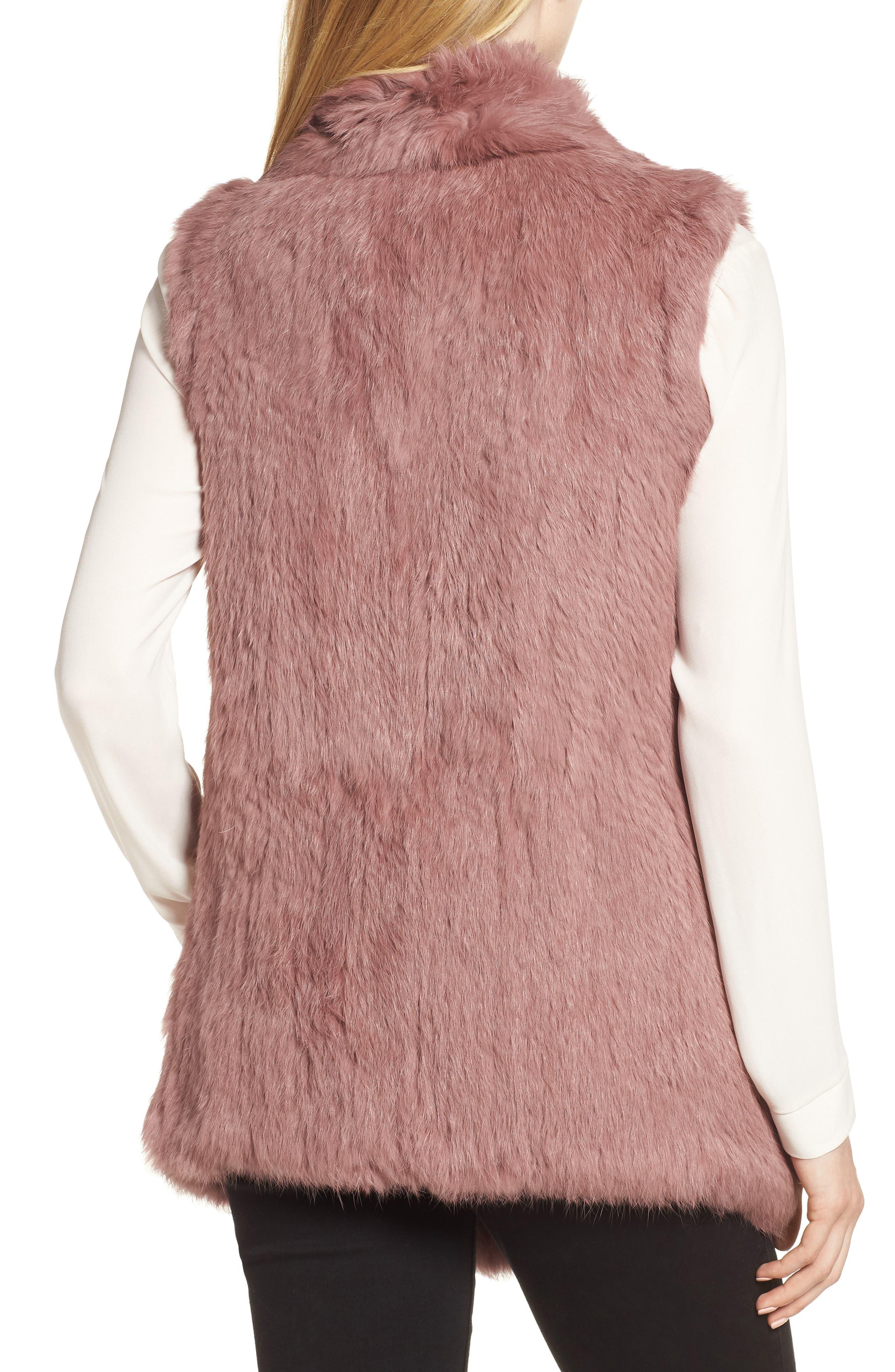 Long Drape Genuine Rabbit Fur Vest,                             Alternate thumbnail 2, color,                             Rose