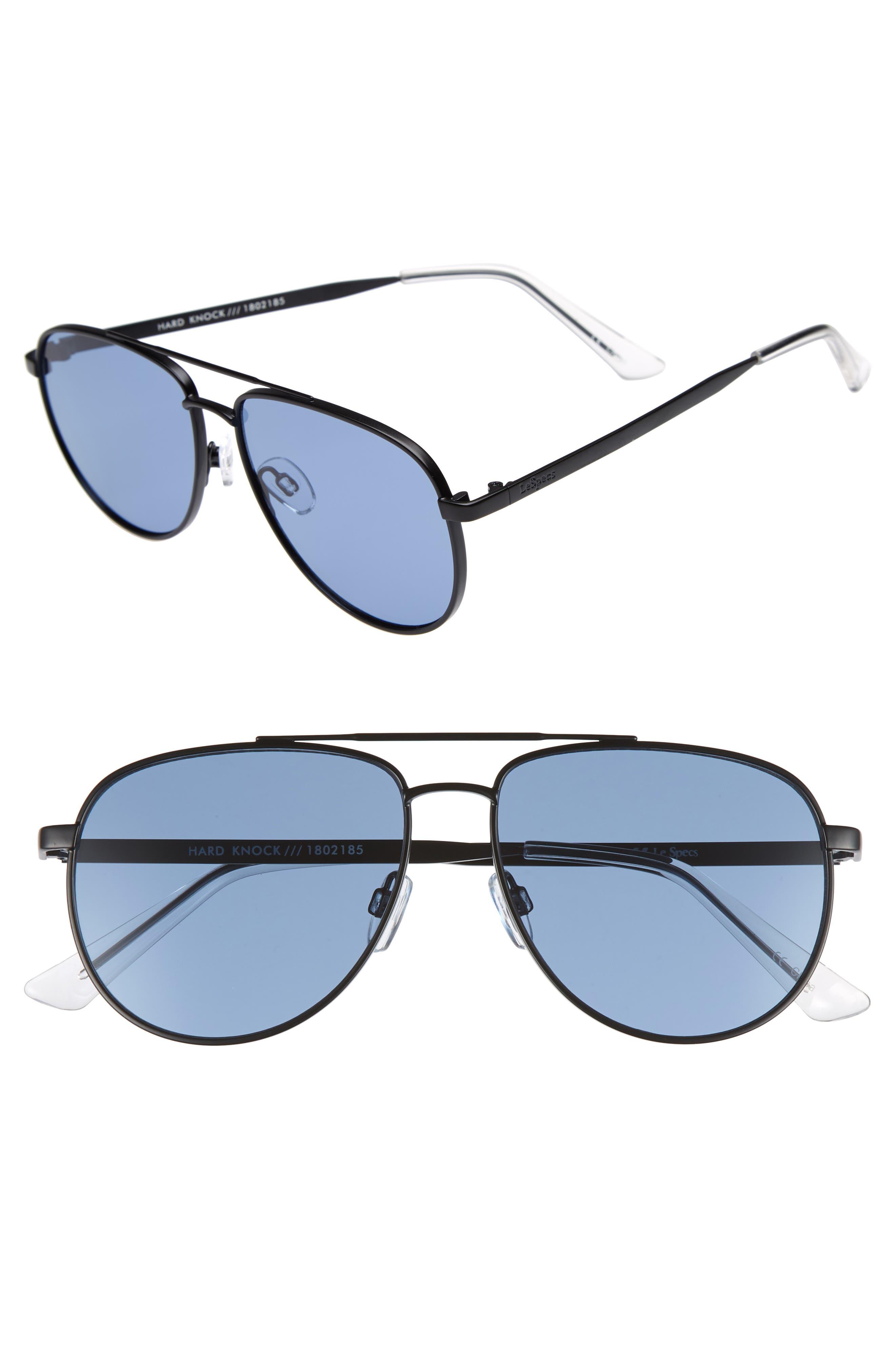 Hard Knock 57mm Aviator Sunglasses,                             Main thumbnail 1, color,                             Matte Navy