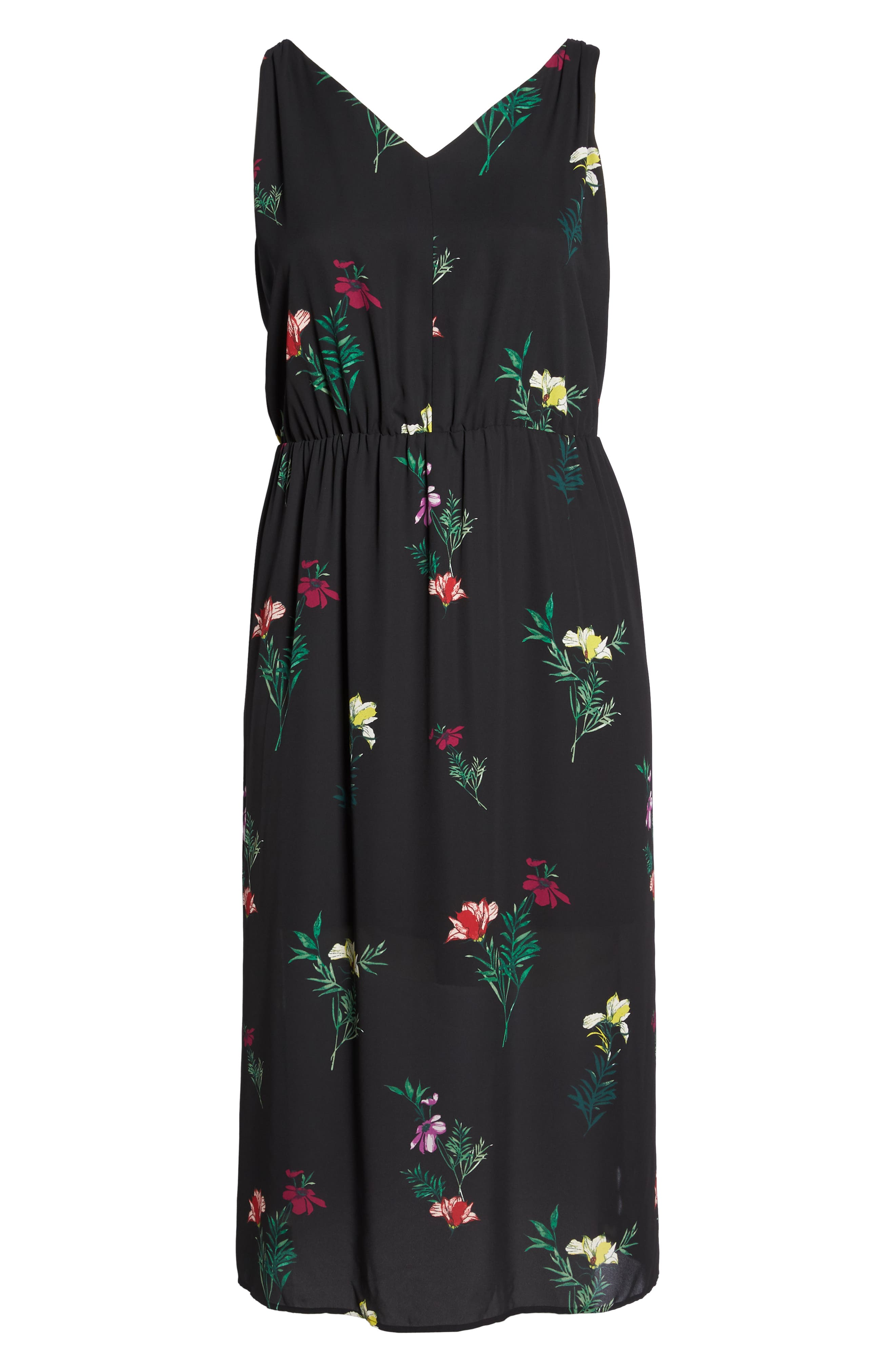 Tropical Garden Midi Dress,                             Alternate thumbnail 7, color,                             Rich Black