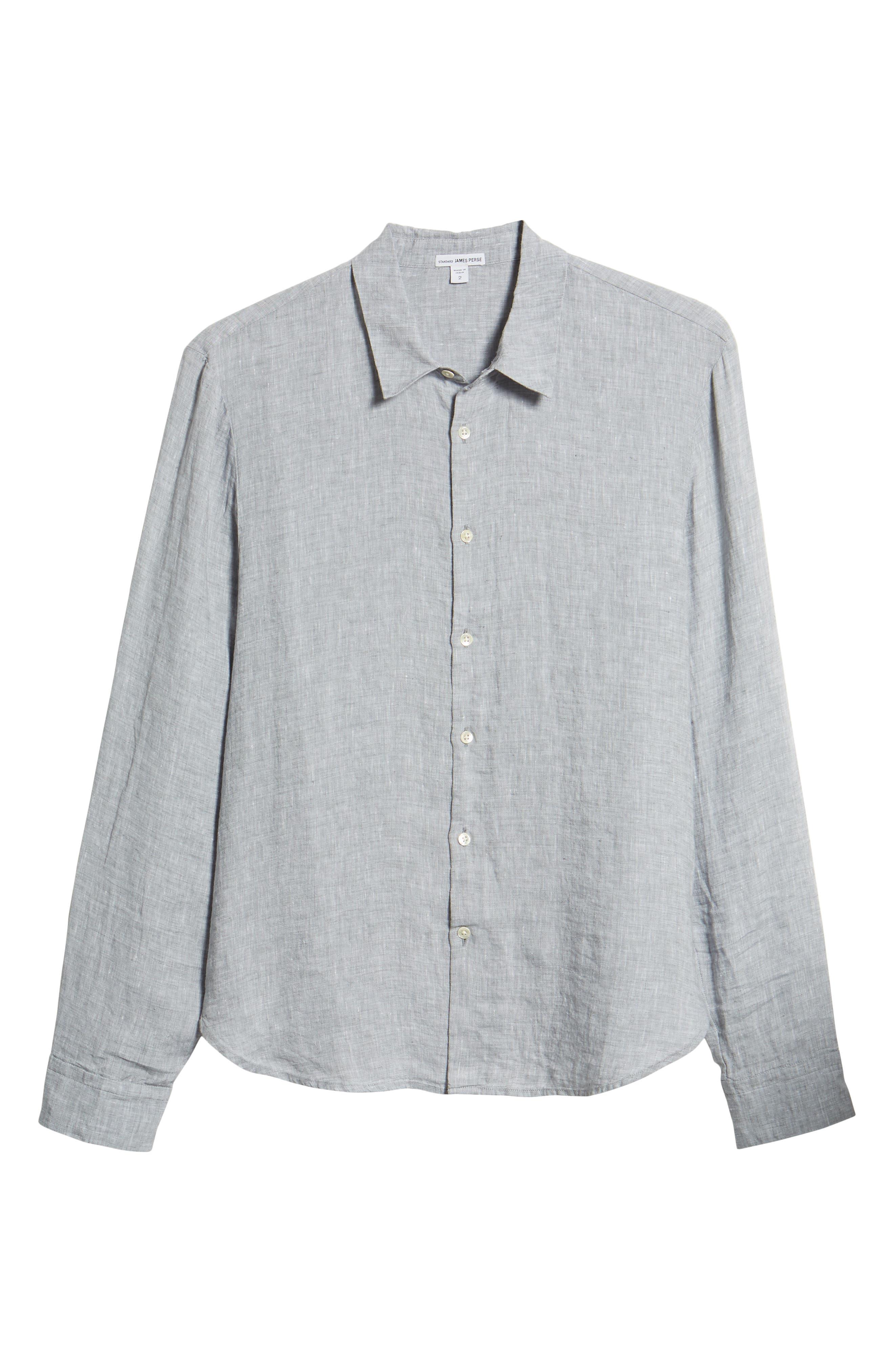 Slim Fit Linen Sport Shirt,                             Alternate thumbnail 6, color,                             Chambray