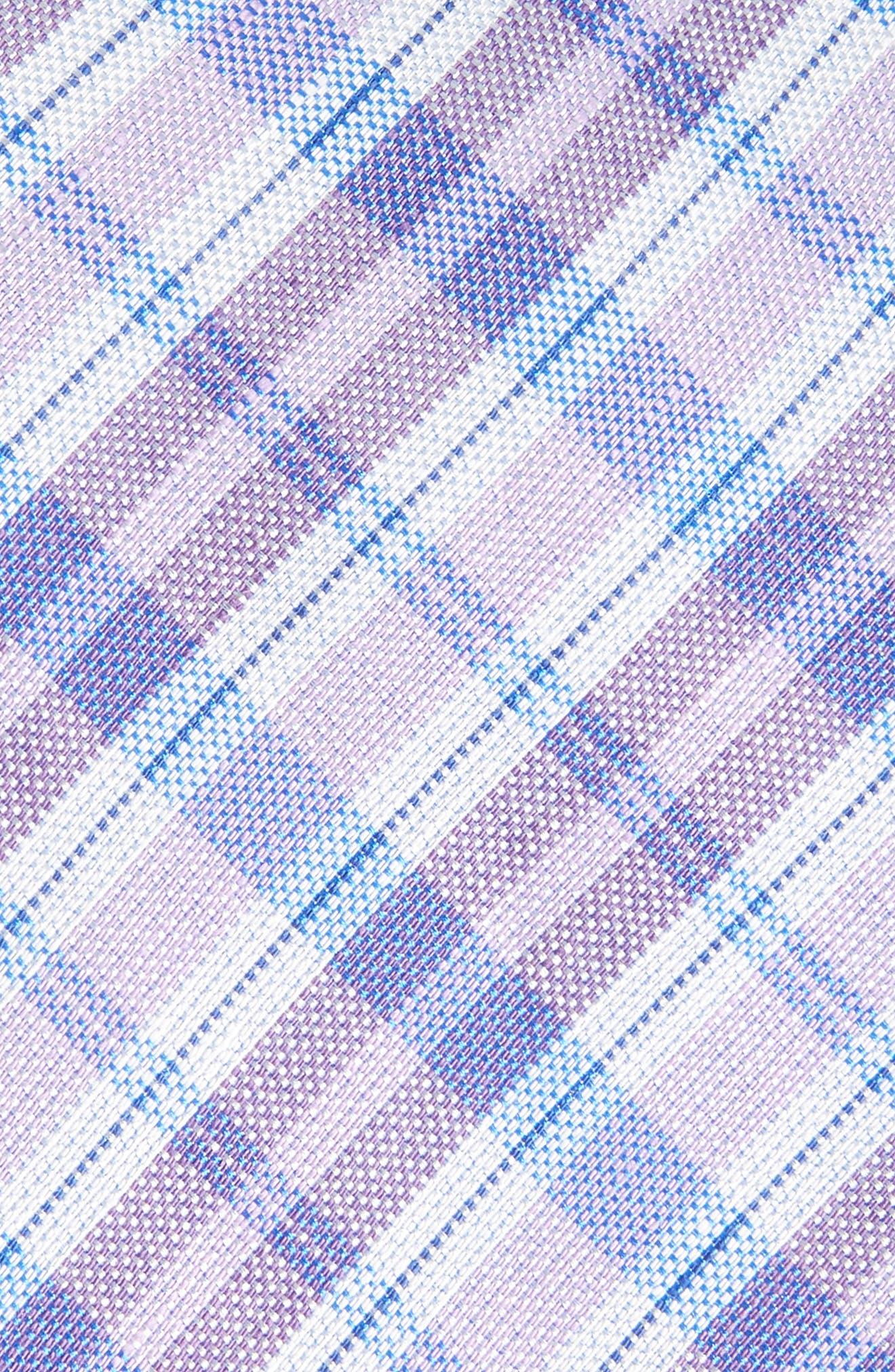 Plaid Linen & Silk Tie,                             Alternate thumbnail 2, color,                             Purple