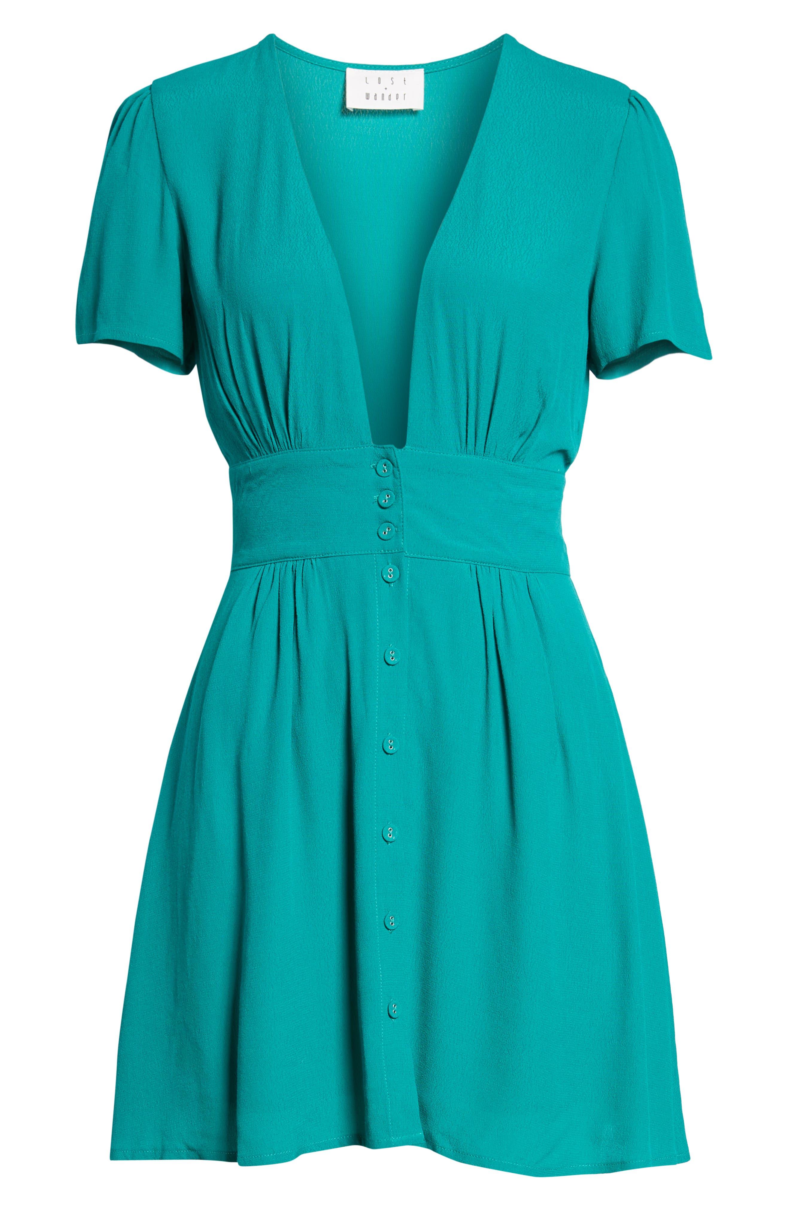 Verdera Plunging Minidress,                             Alternate thumbnail 8, color,                             Green