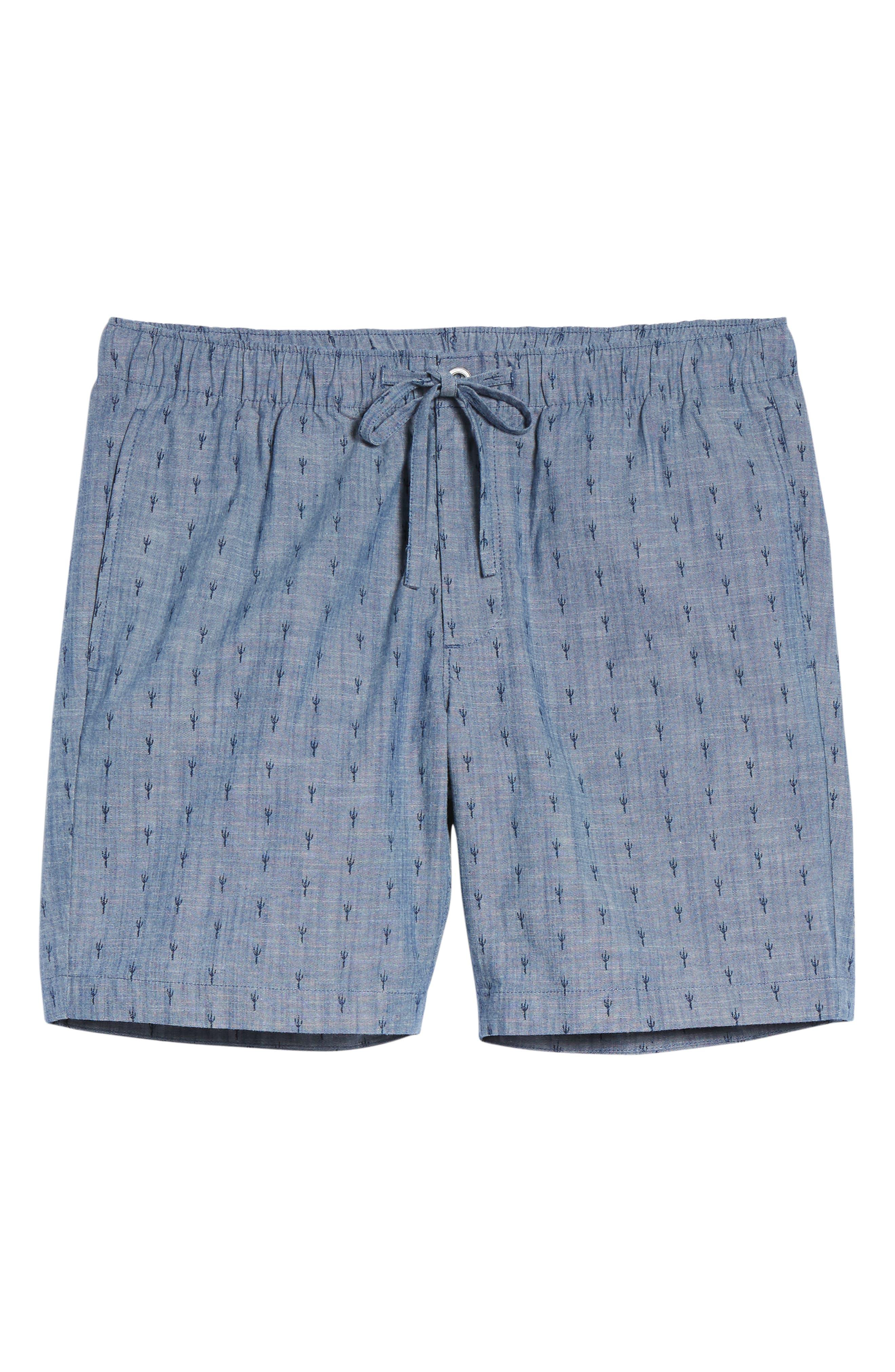 Slim Fit Print Beach Shorts,                             Alternate thumbnail 6, color,                             Cacti Stamp