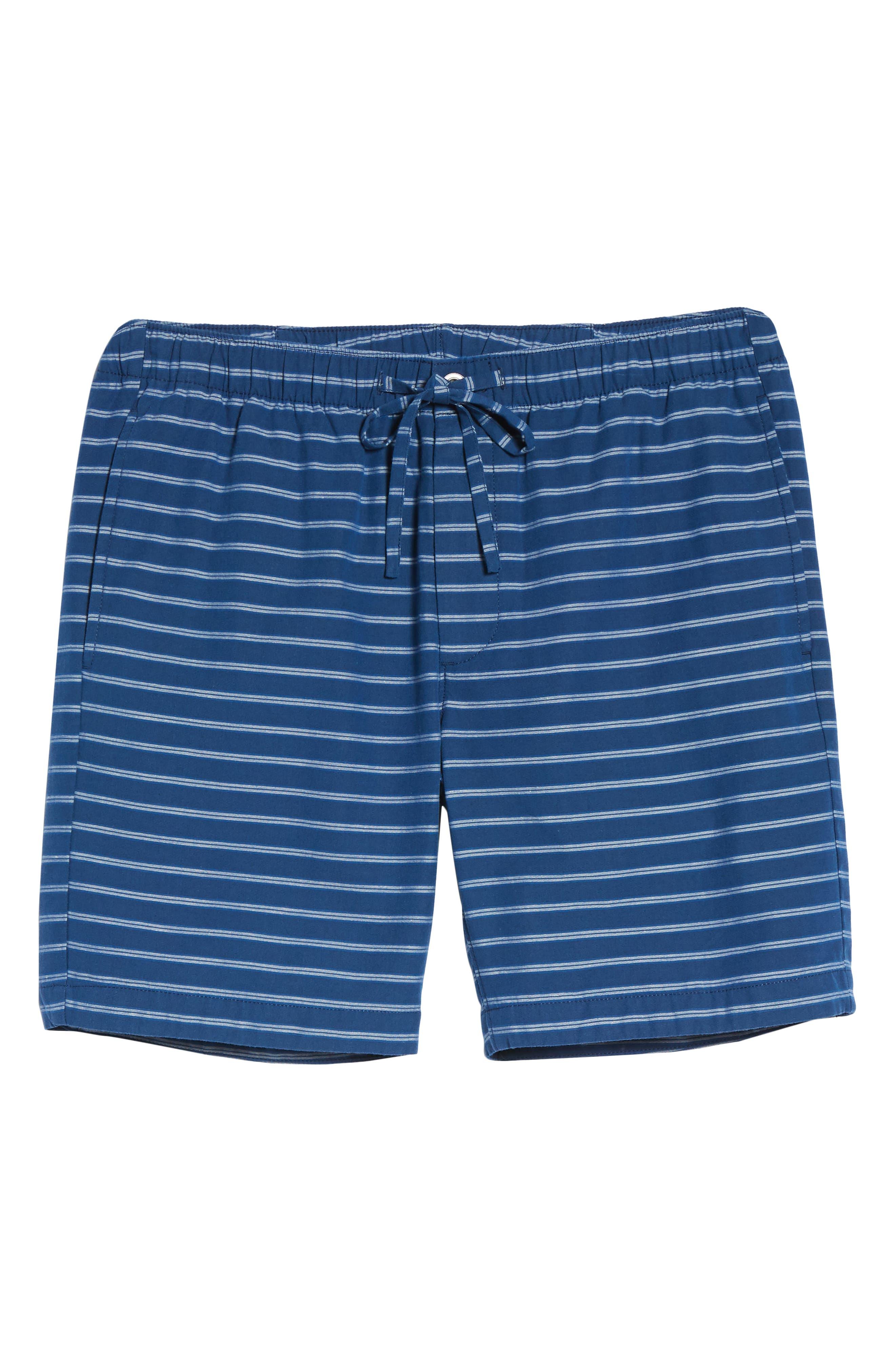 Slim Fit Stripe Beach Shorts,                             Alternate thumbnail 6, color,                             Blue Stripe