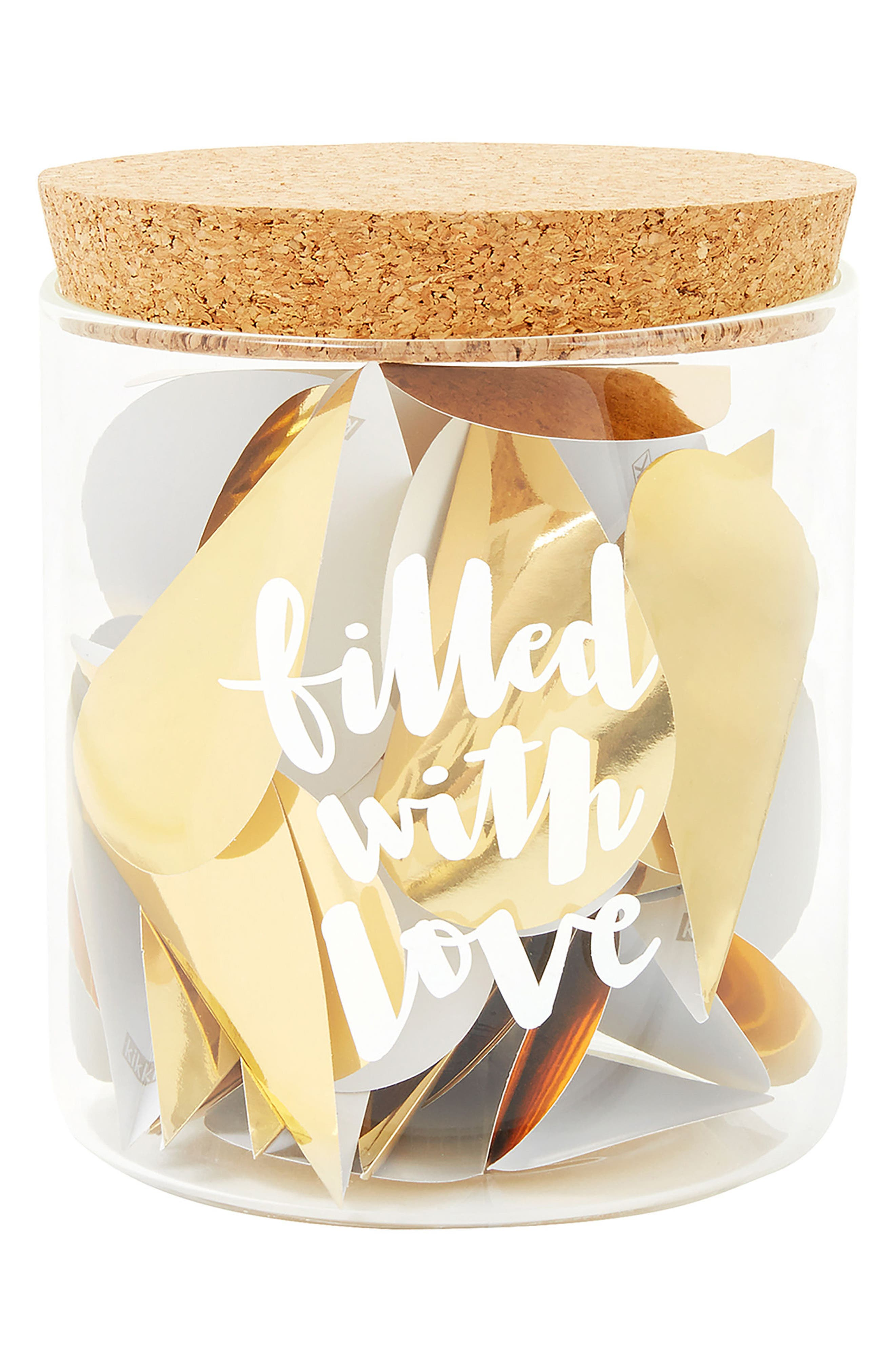 Filled with Love Well Wishes Wedding Keepsake Jar,                             Main thumbnail 1, color,                             White