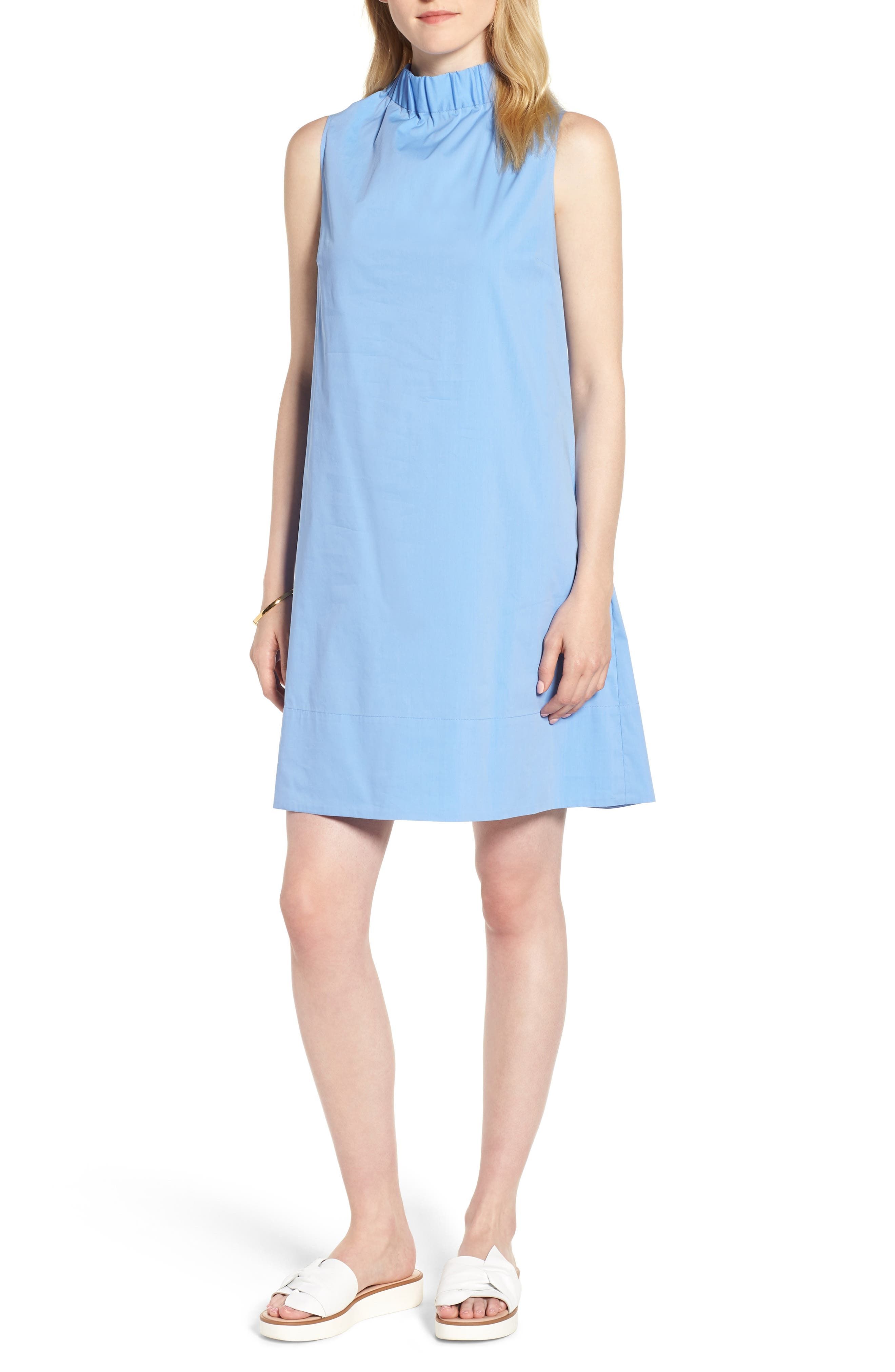 Stretch Cotton Poplin Shift Dress,                             Main thumbnail 1, color,                             Blue Cornflower