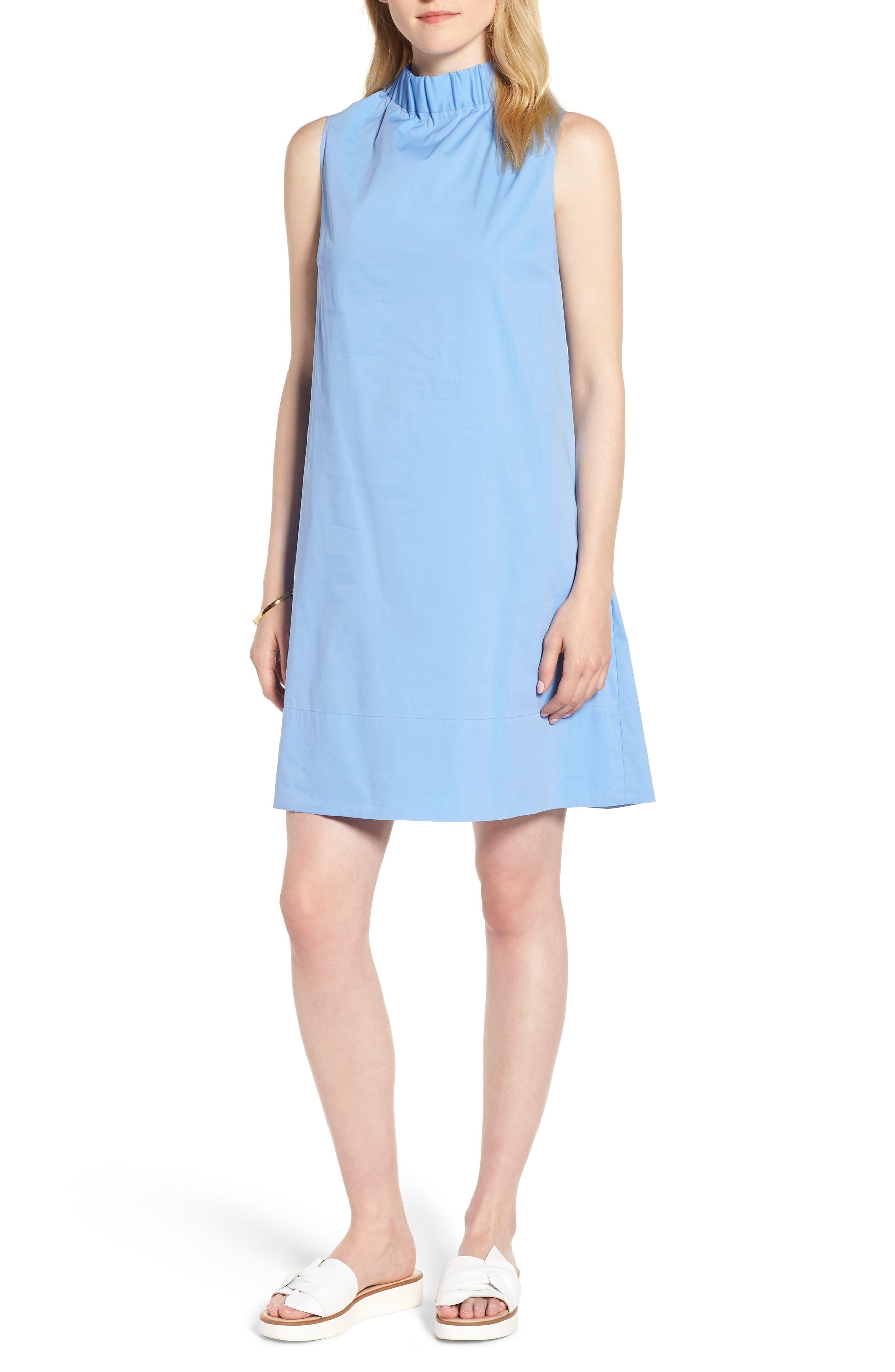 Stretch Cotton Poplin Shift Dress,                         Main,                         color, Blue Cornflower