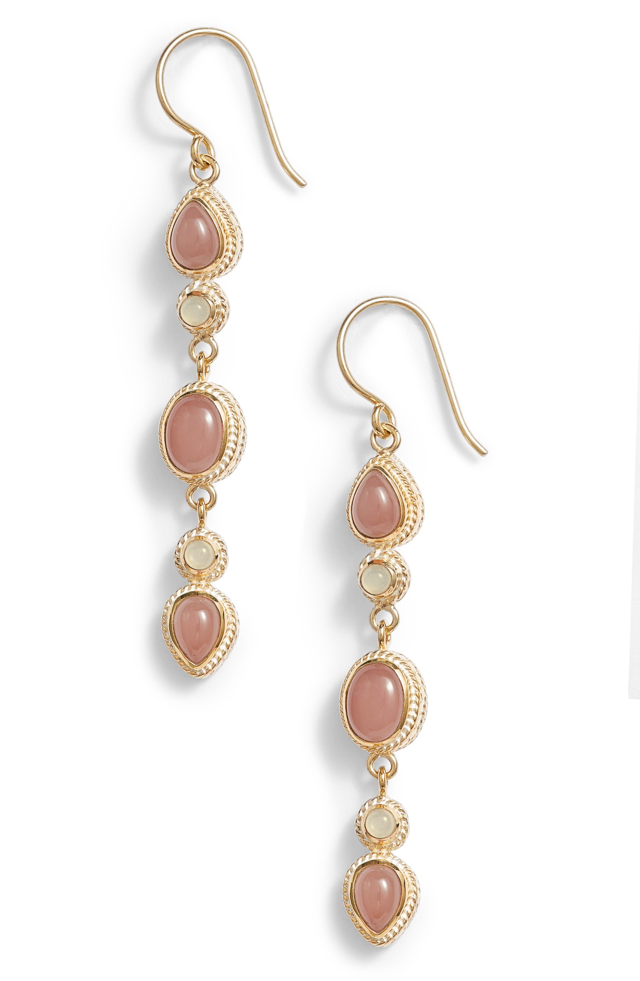 Guava Quartz & Moonstone Linear Drop Earrings,                         Main,                         color, Gold/ Guava/ Moonstone