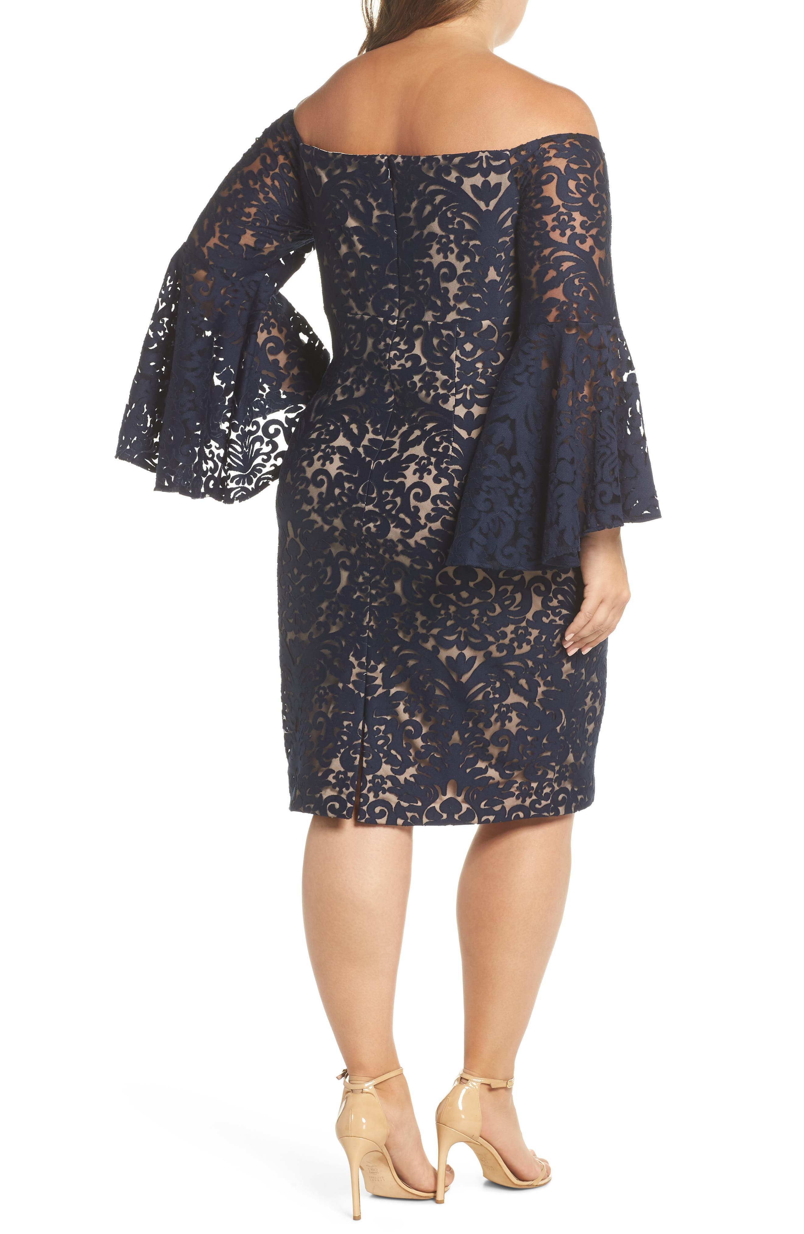 Bell Sleeve Off the Shoulder Burnout Lace Dress,                             Alternate thumbnail 2, color,                             Navy/ Nude