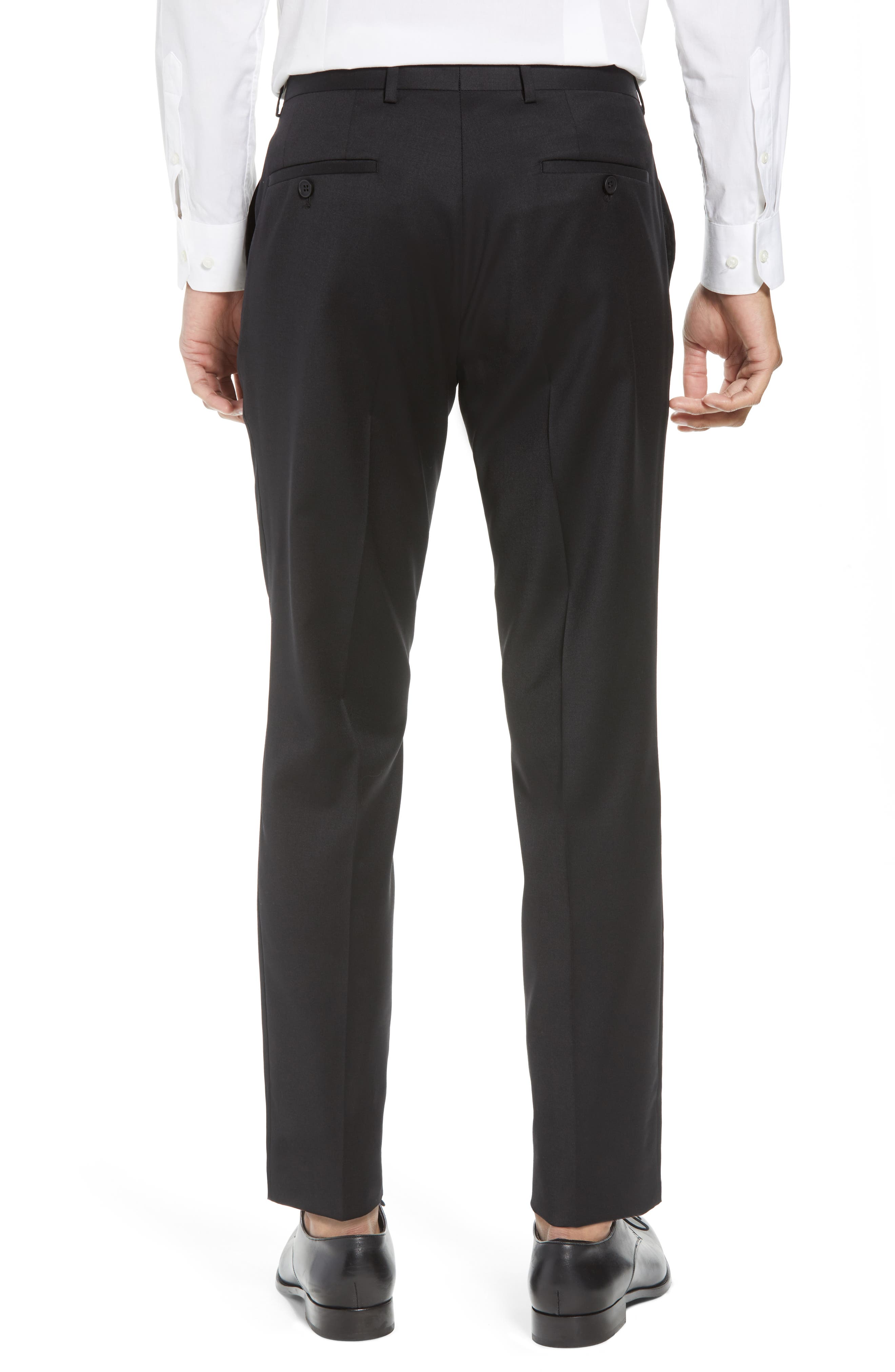 Flat Front Tech-Smart Extra Trim Trousers,                             Alternate thumbnail 2, color,                             Black