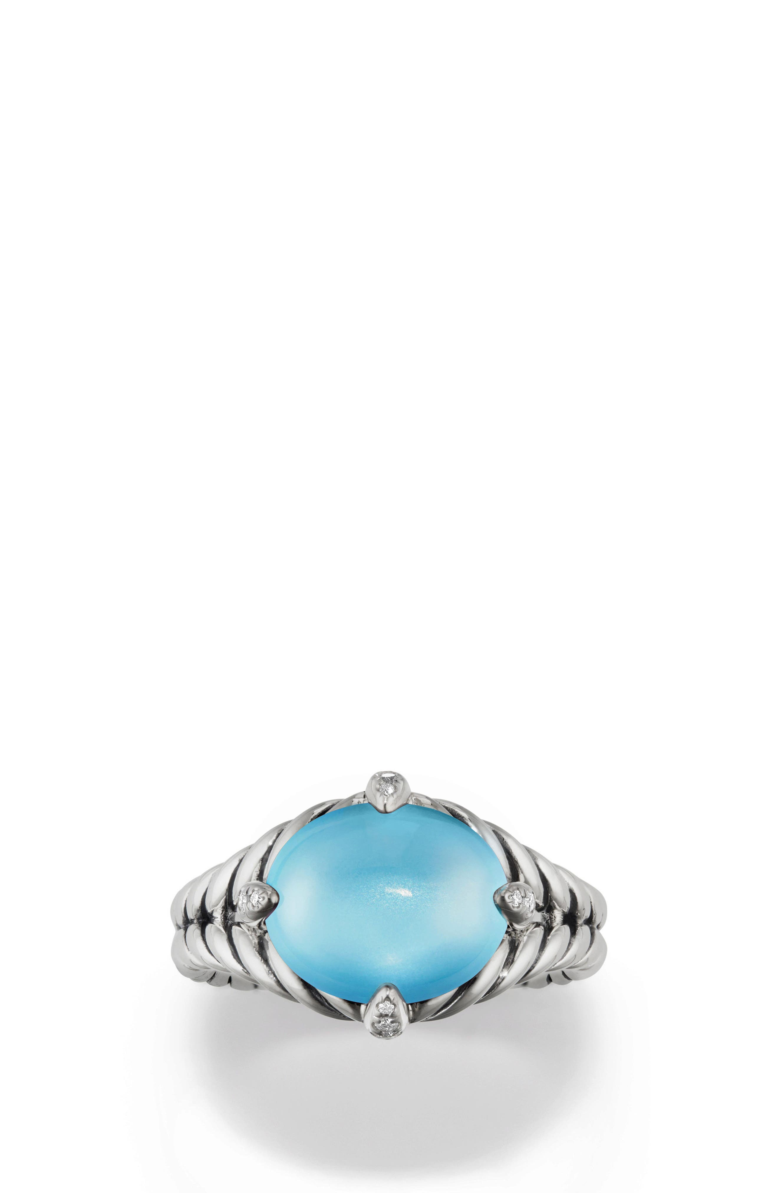Chatelaine<sup>®</sup> Single Gemstone & Diamond Ring,                         Main,                         color, Silver/ Diamond/ Blue Topaz