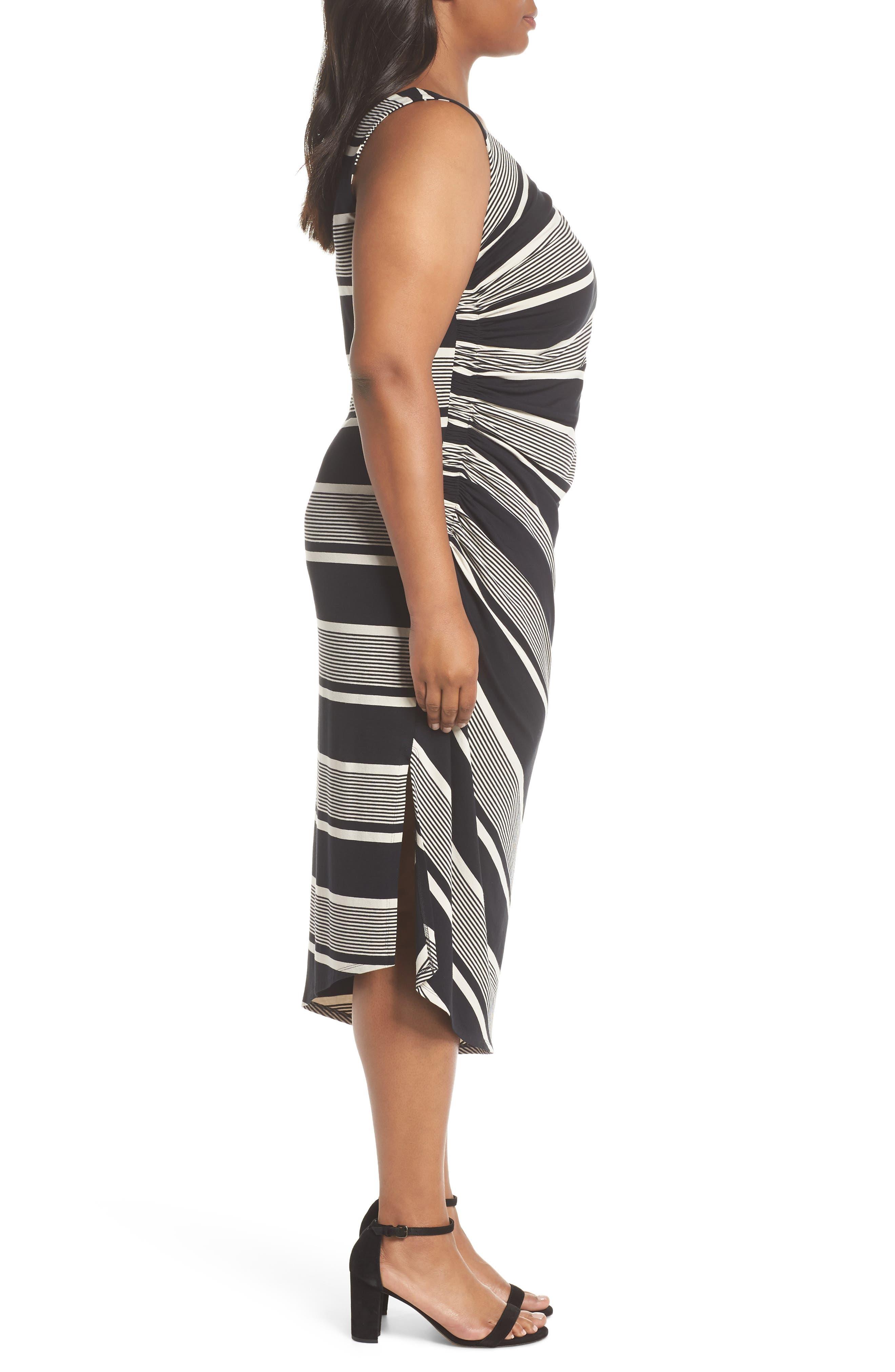 Venue Block Stripe Ruched Body-Con Dress,                             Alternate thumbnail 3, color,                             Rich Black