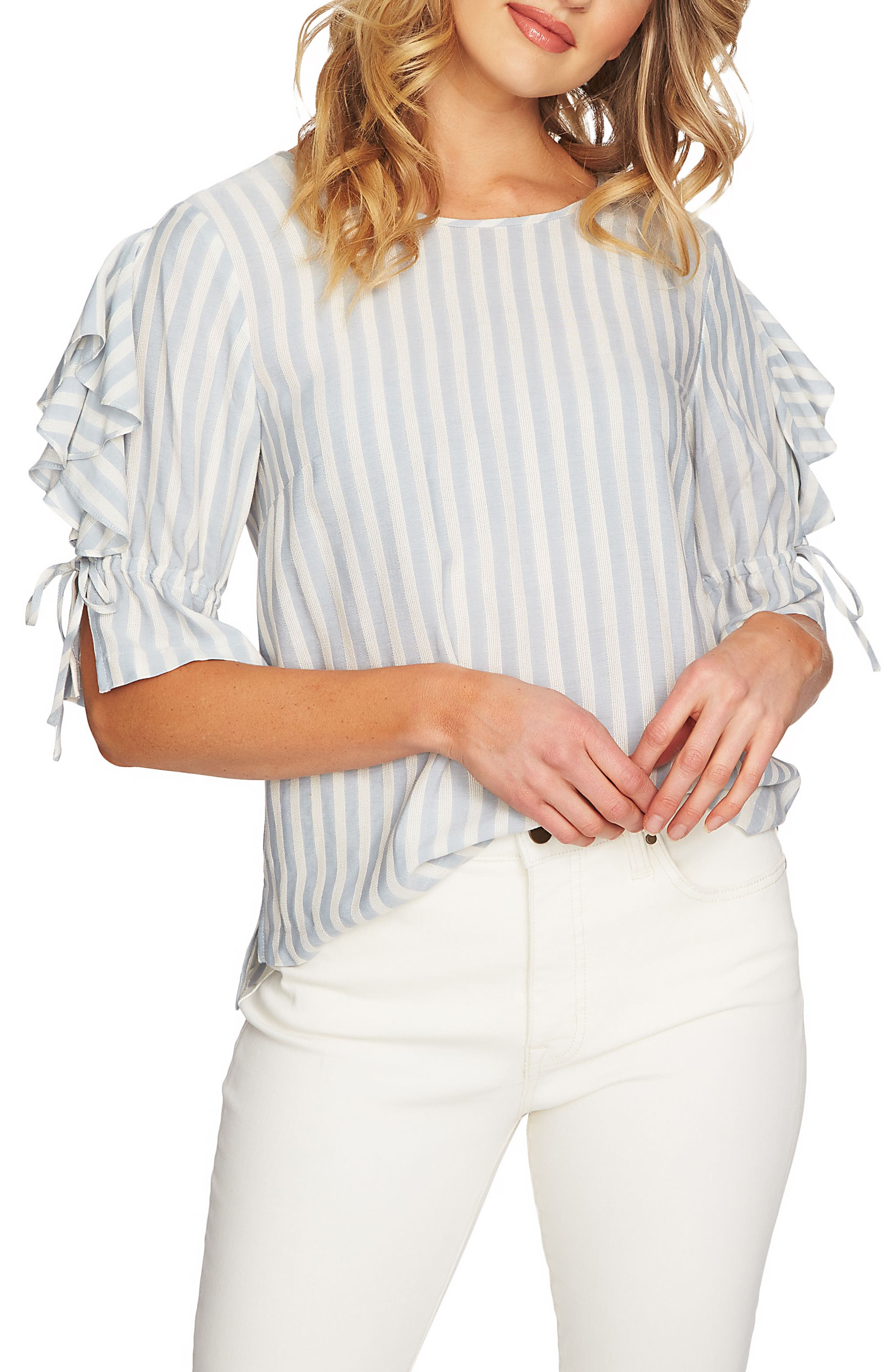 Ruffle Sleeve Stripe Top,                             Main thumbnail 1, color,                             Wind Surf