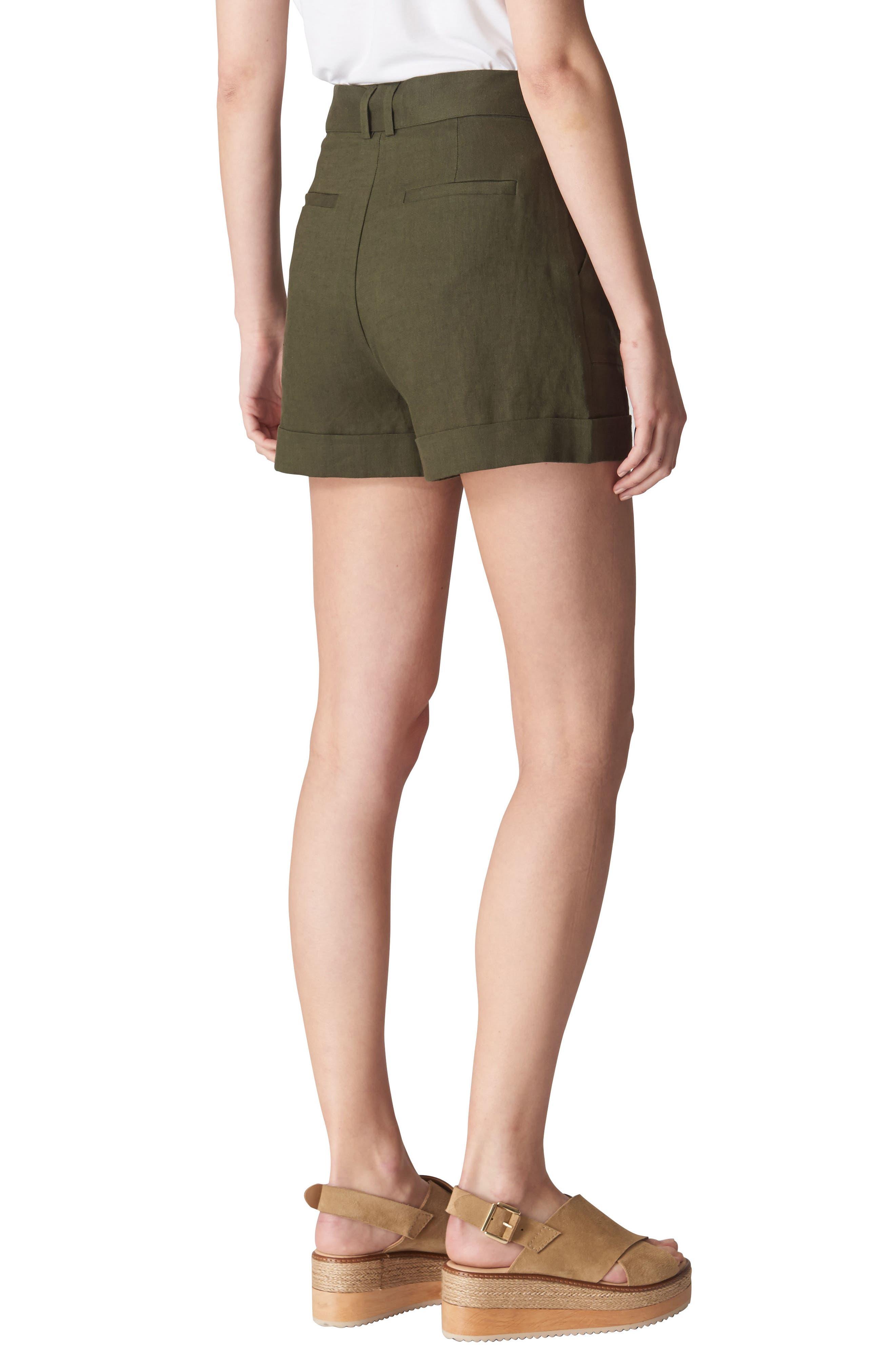 Linen Shorts,                             Alternate thumbnail 2, color,                             Khaki