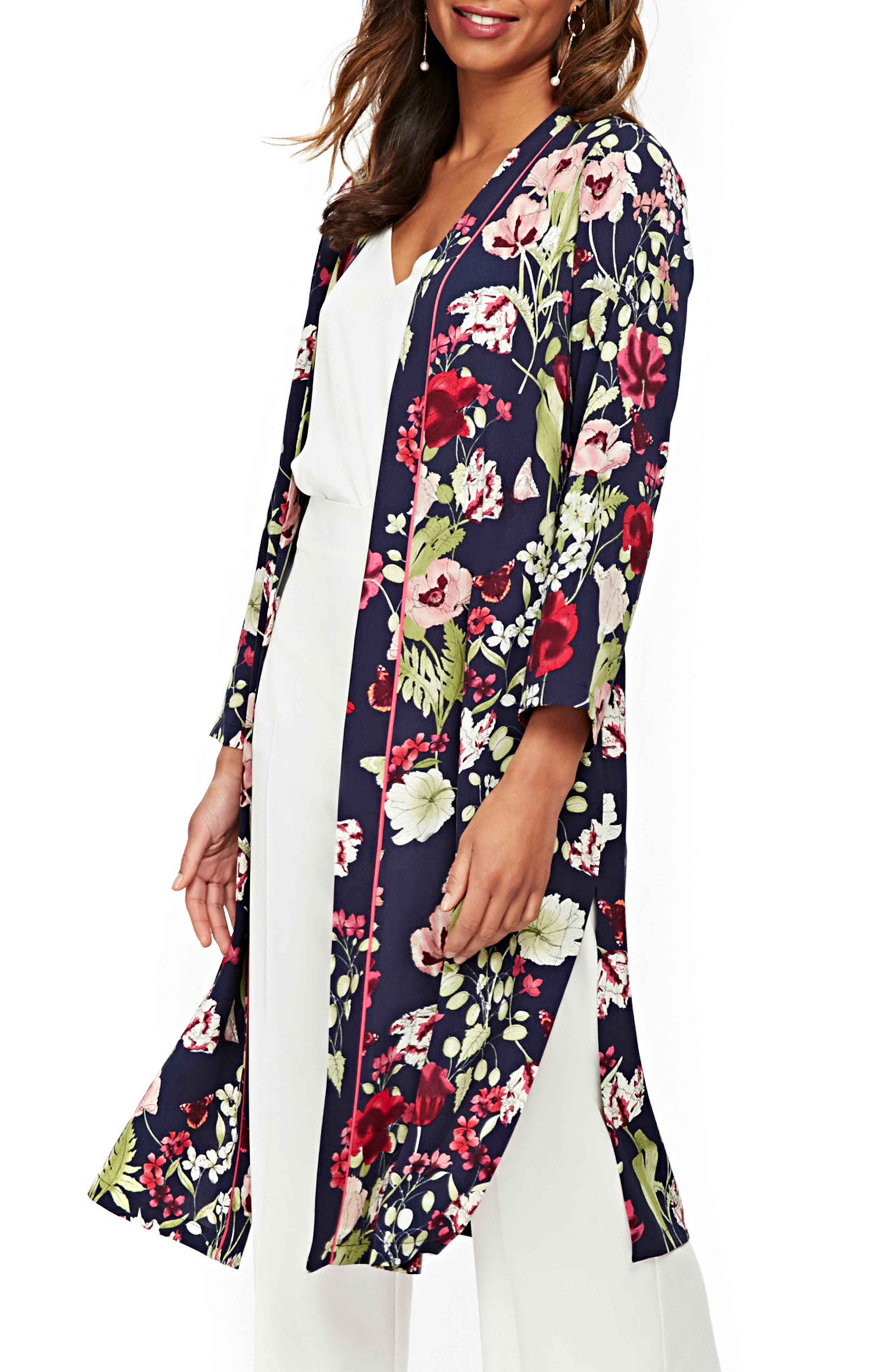Floral Print Duster,                         Main,                         color, Navy