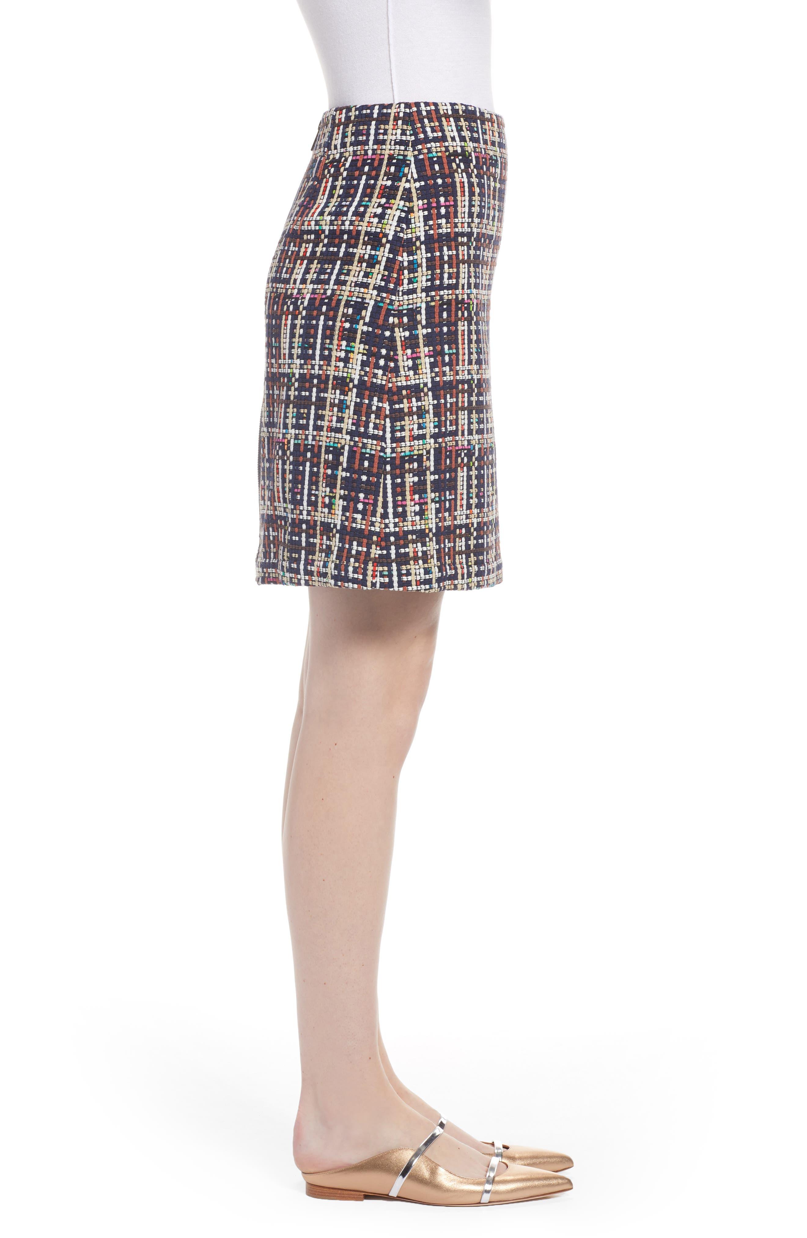 Tweed Mini Skirt,                             Alternate thumbnail 3, color,                             Navy Multi Tweed