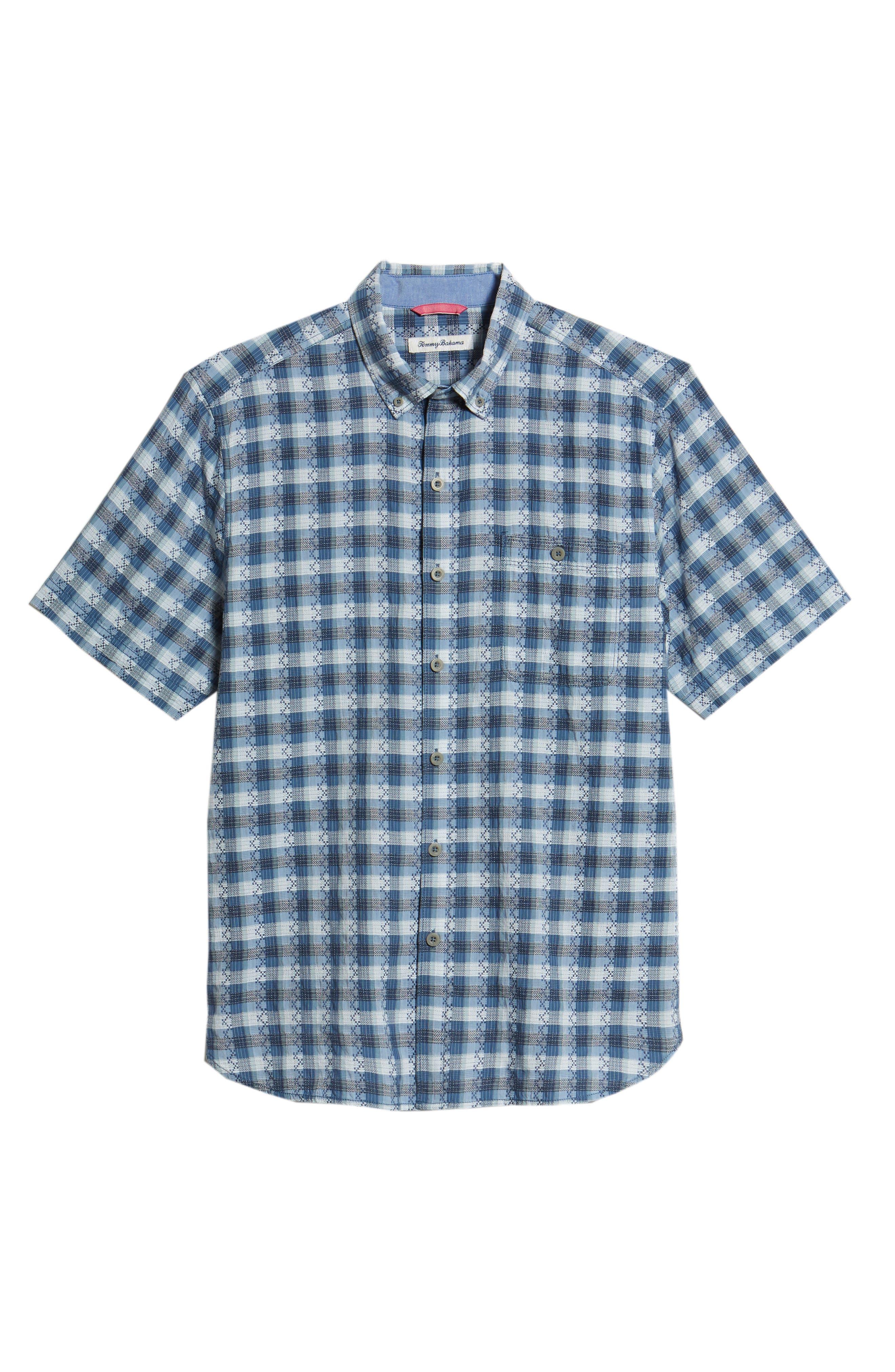 La Veleta Check Sport Shirt,                             Alternate thumbnail 6, color,                             Ocean Deep