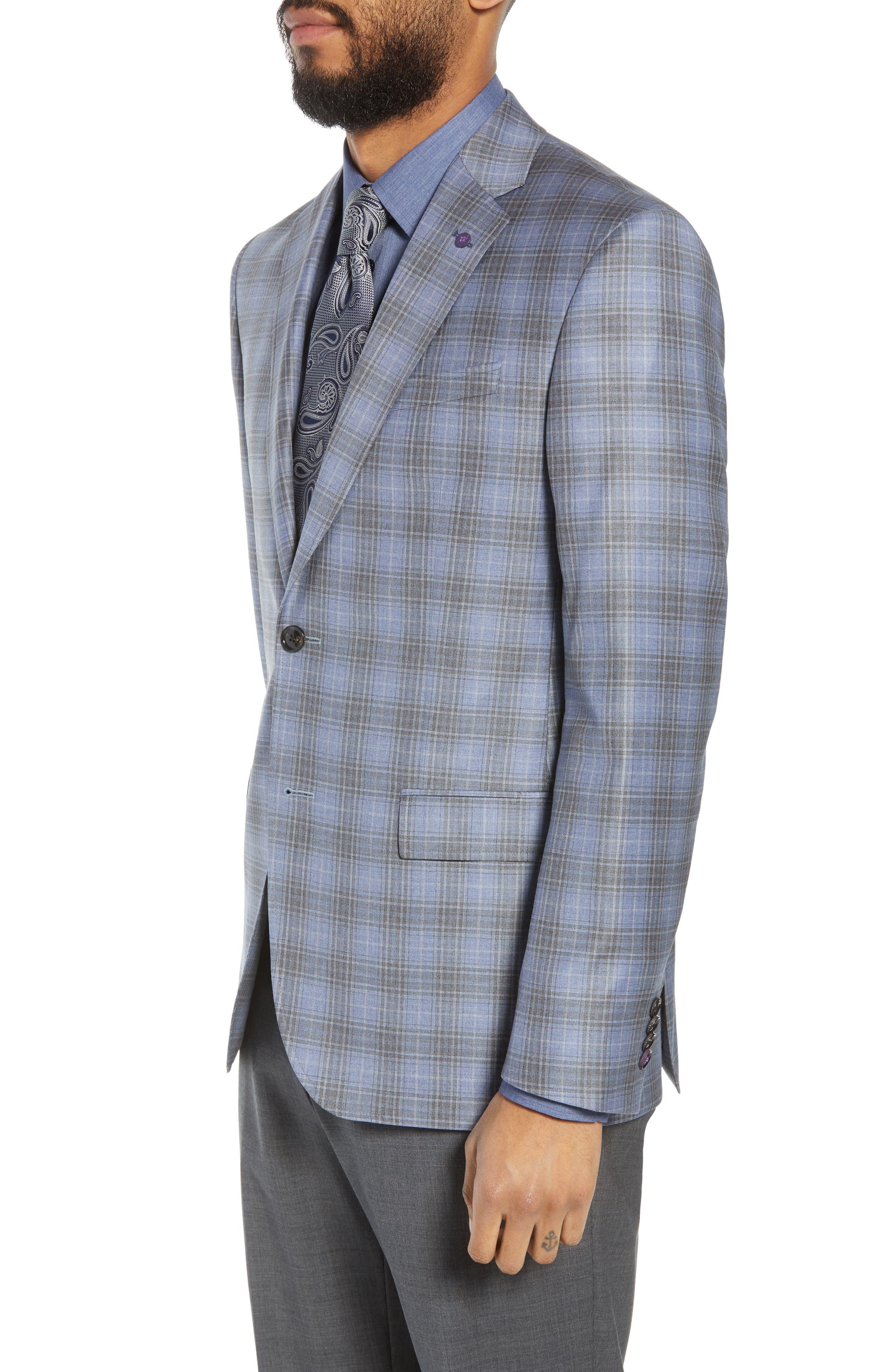 Jay Trim Fit Plaid Wool Sport Coat,                             Alternate thumbnail 3, color,                             Light Blue