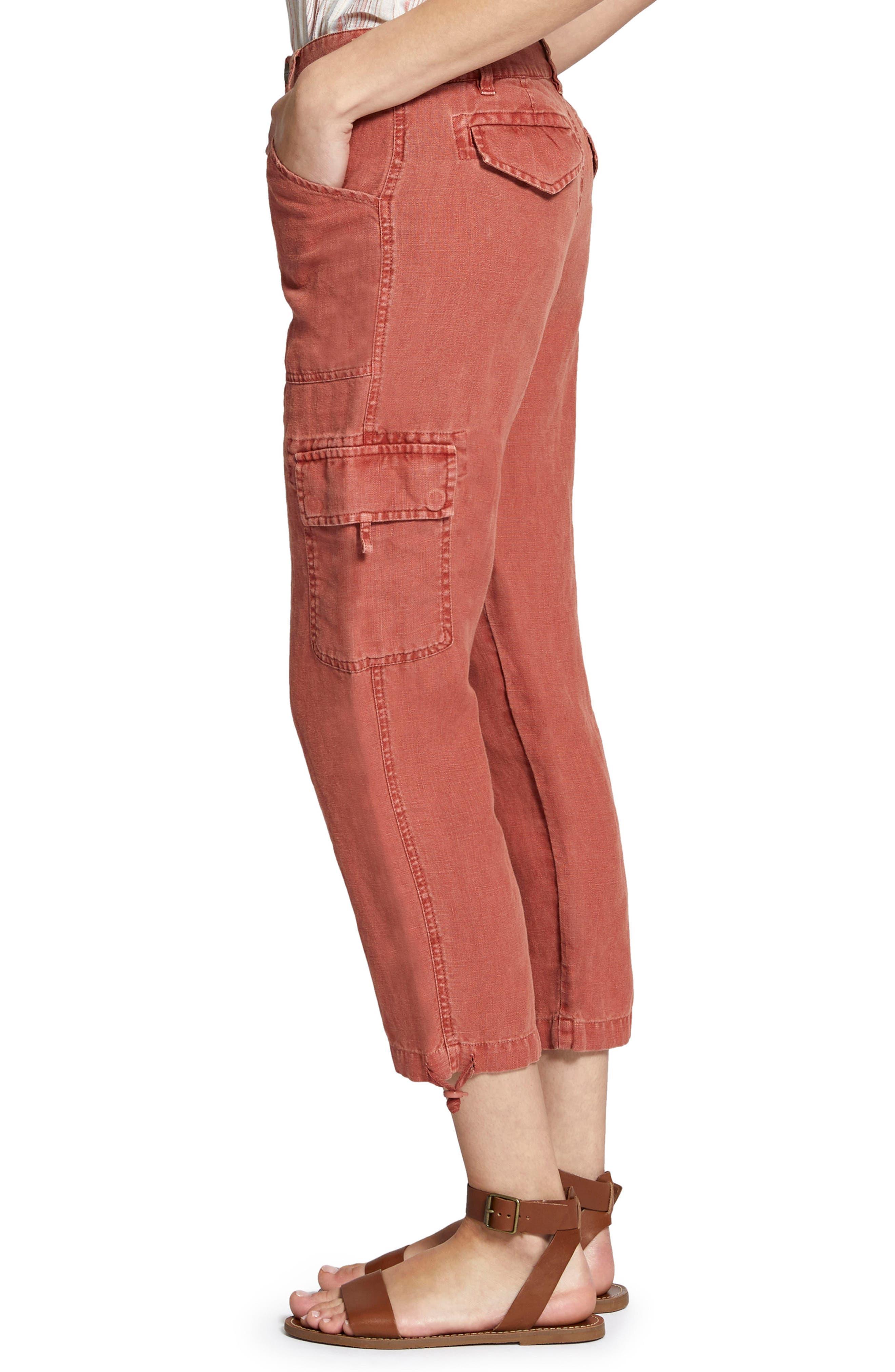 Terrain Linen Crop Cargo Pants,                             Alternate thumbnail 3, color,                             Terra Cotta