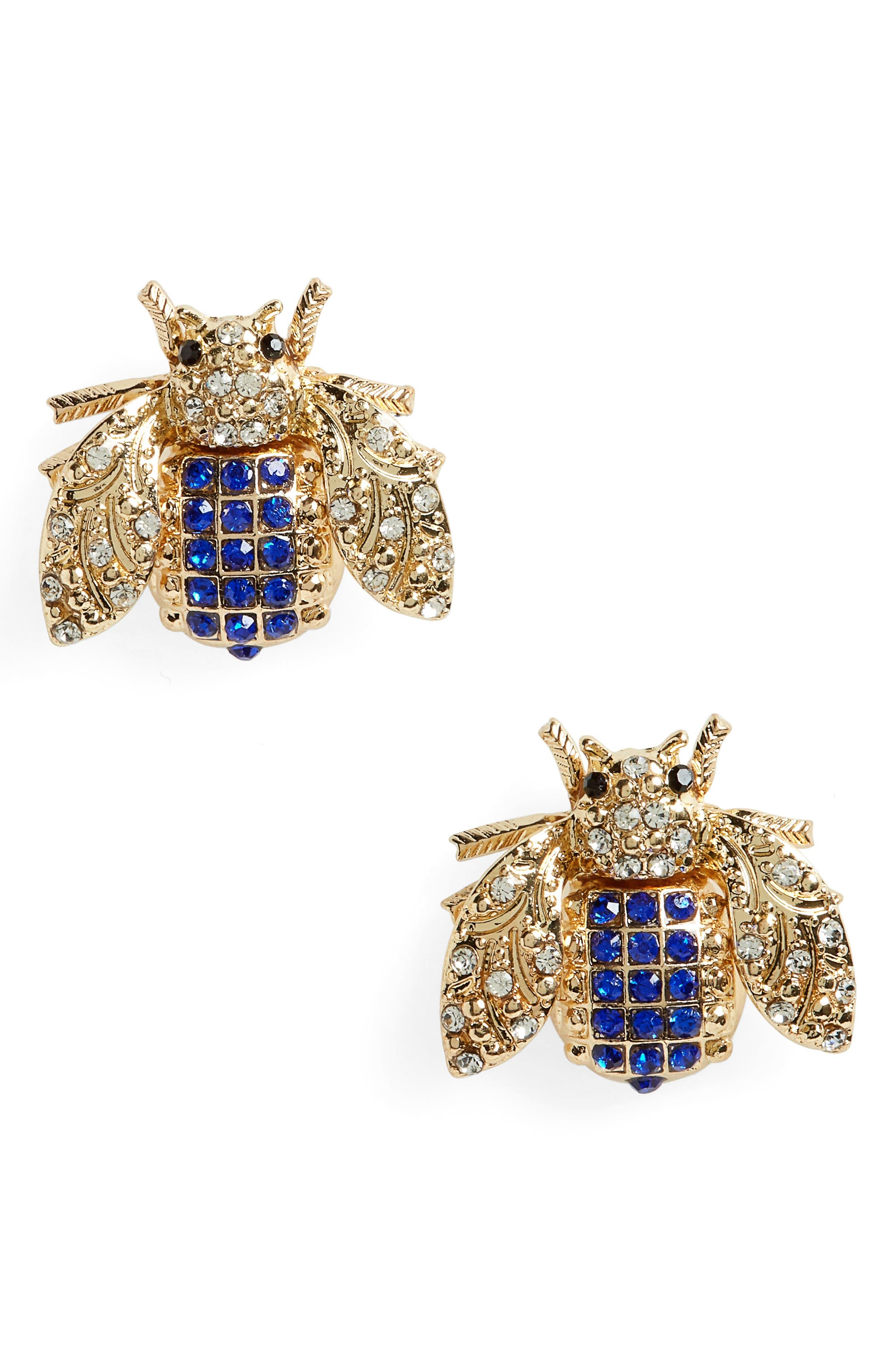 Topshop Rhinestone Insect Stud Earrings