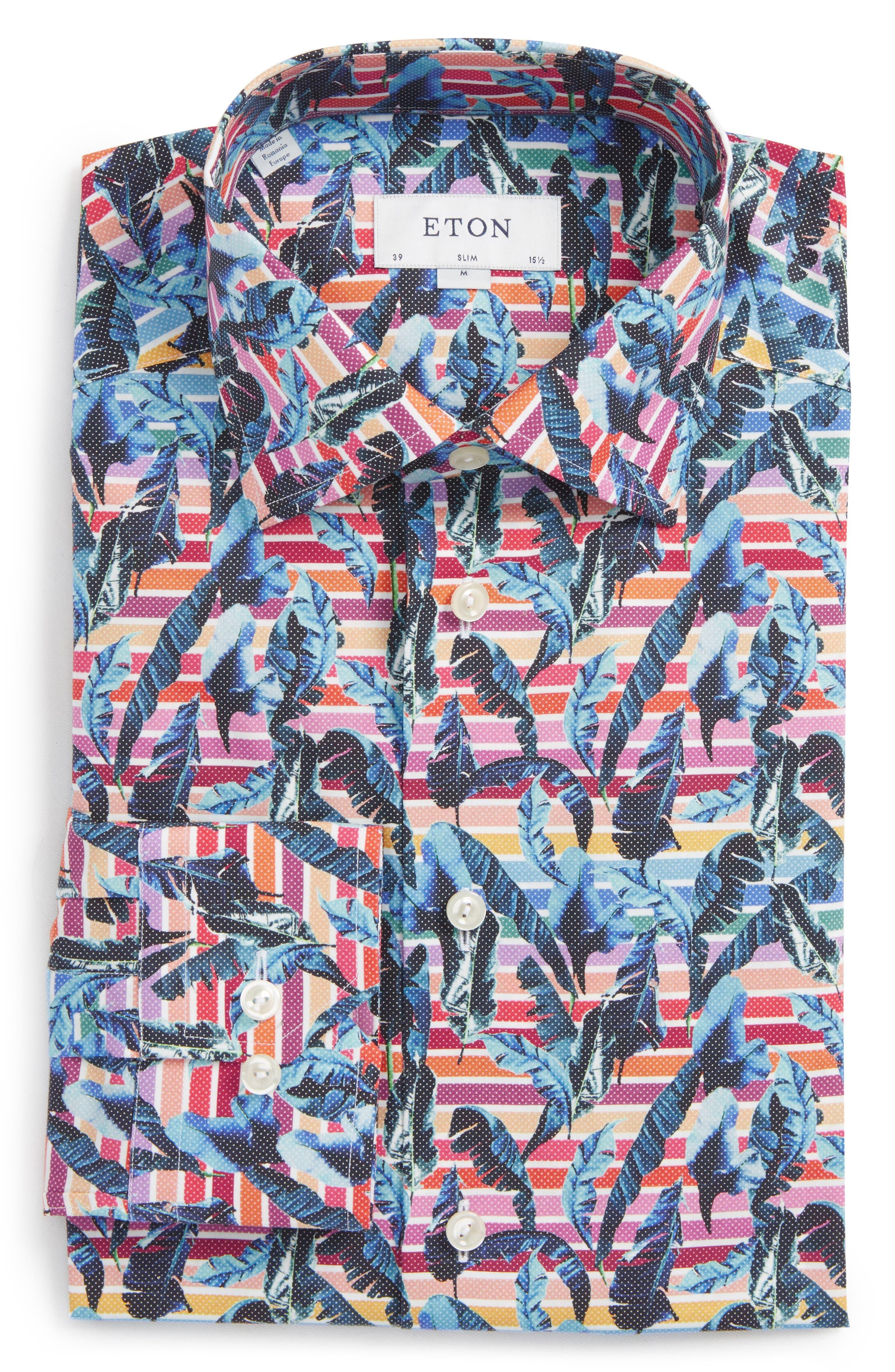 Slim Fit Print Dress Shirt,                             Alternate thumbnail 6, color,                             Red/ Blue