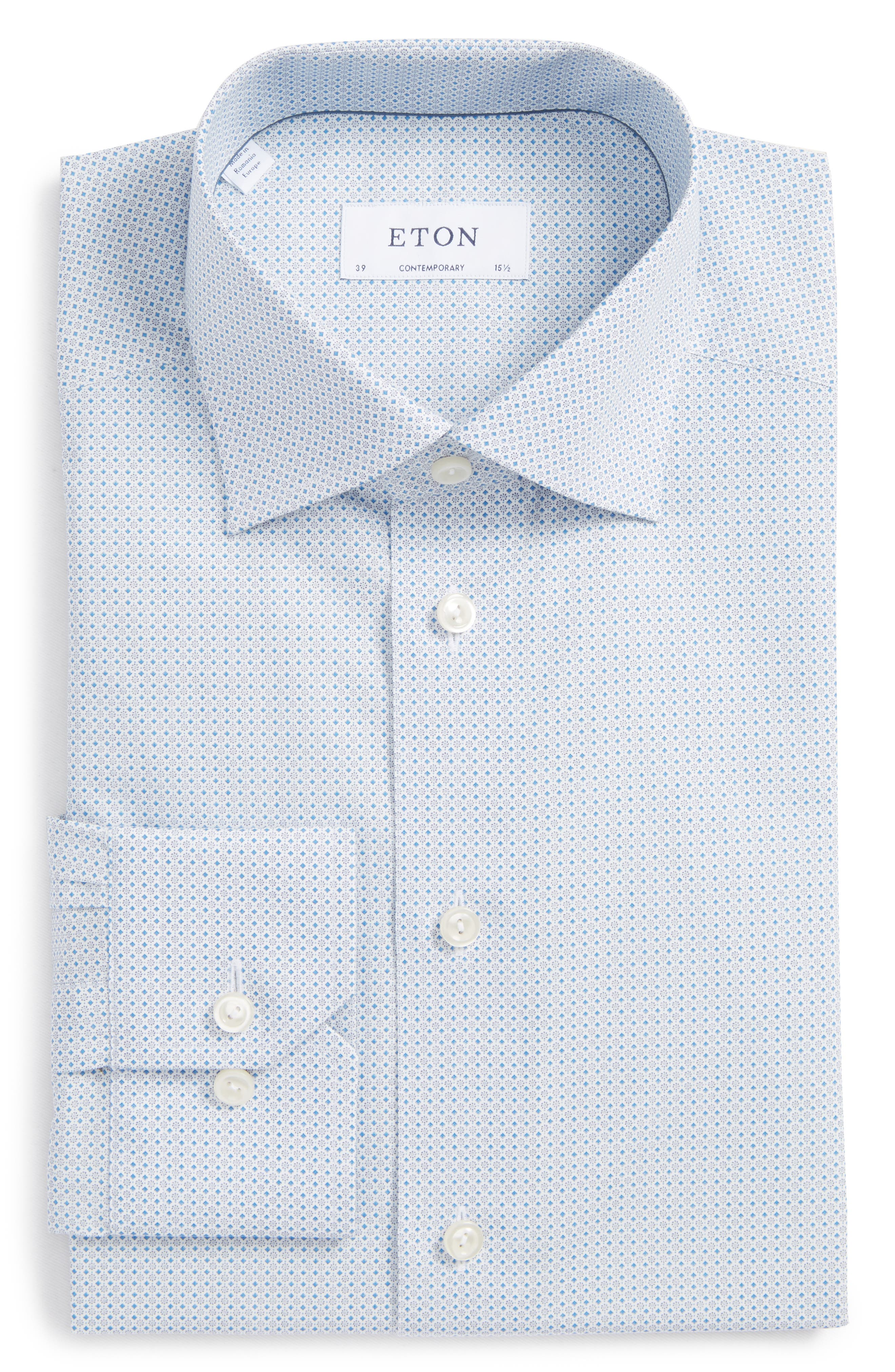 Contemporary Fit Geometric Dress Shirt,                             Alternate thumbnail 6, color,                             Blue