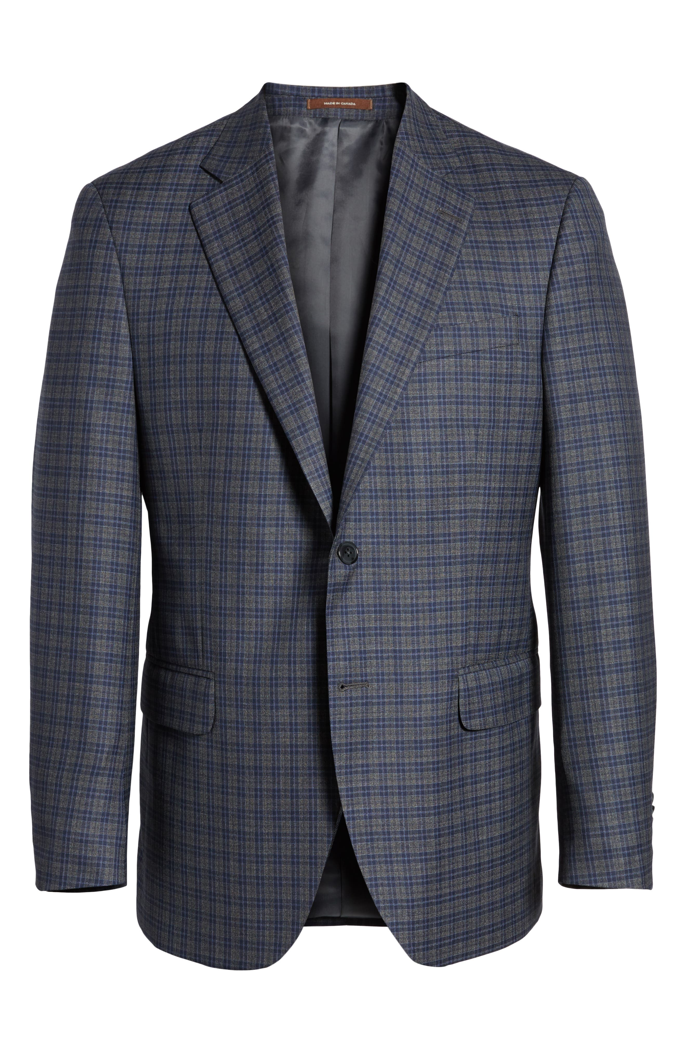 Classic Fit Check Wool Sport Coat,                             Alternate thumbnail 6, color,                             Grey