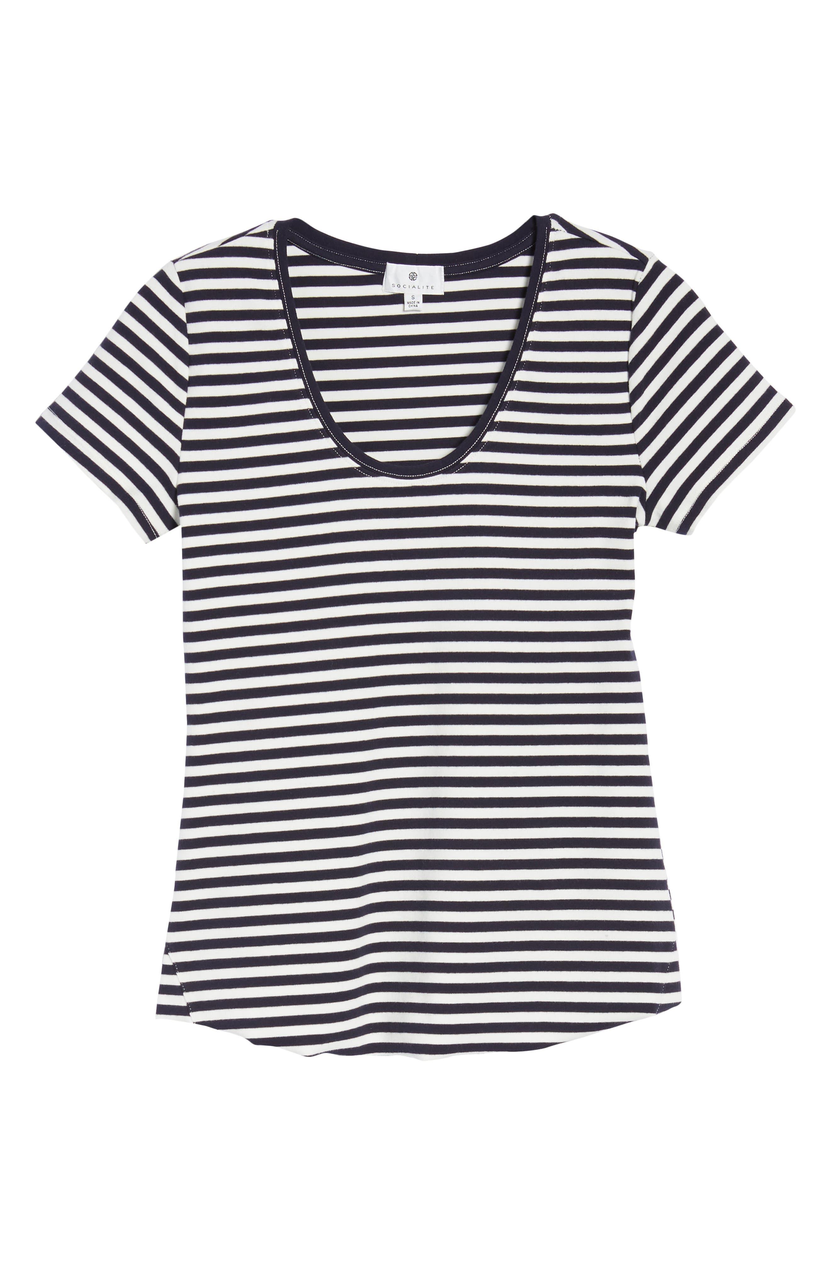 Stripe Tee,                             Alternate thumbnail 7, color,                             Navy/ White