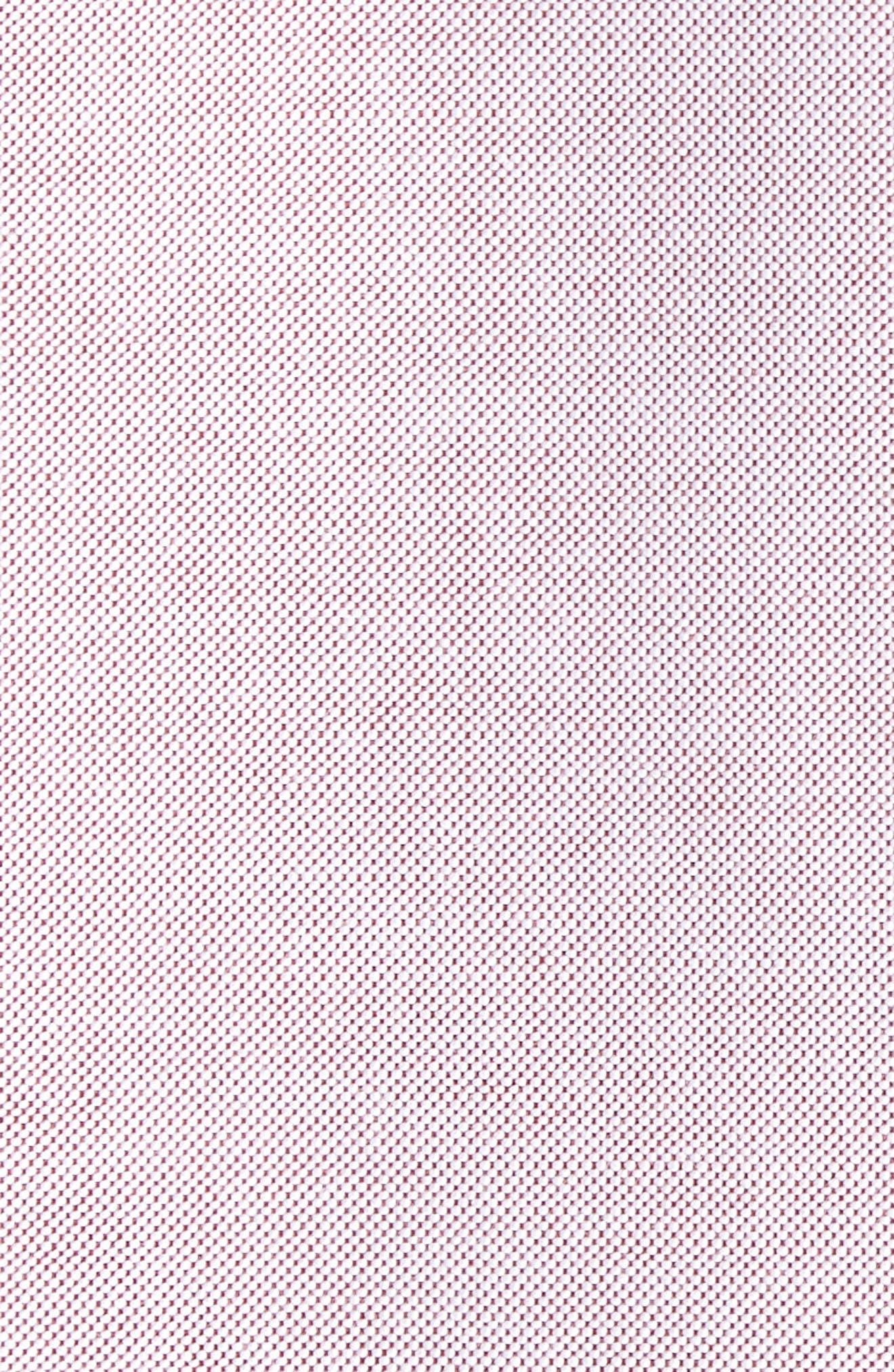 Trim Fit Washed Oxford Shirt,                             Alternate thumbnail 5, color,                             Burgundy London Oxford