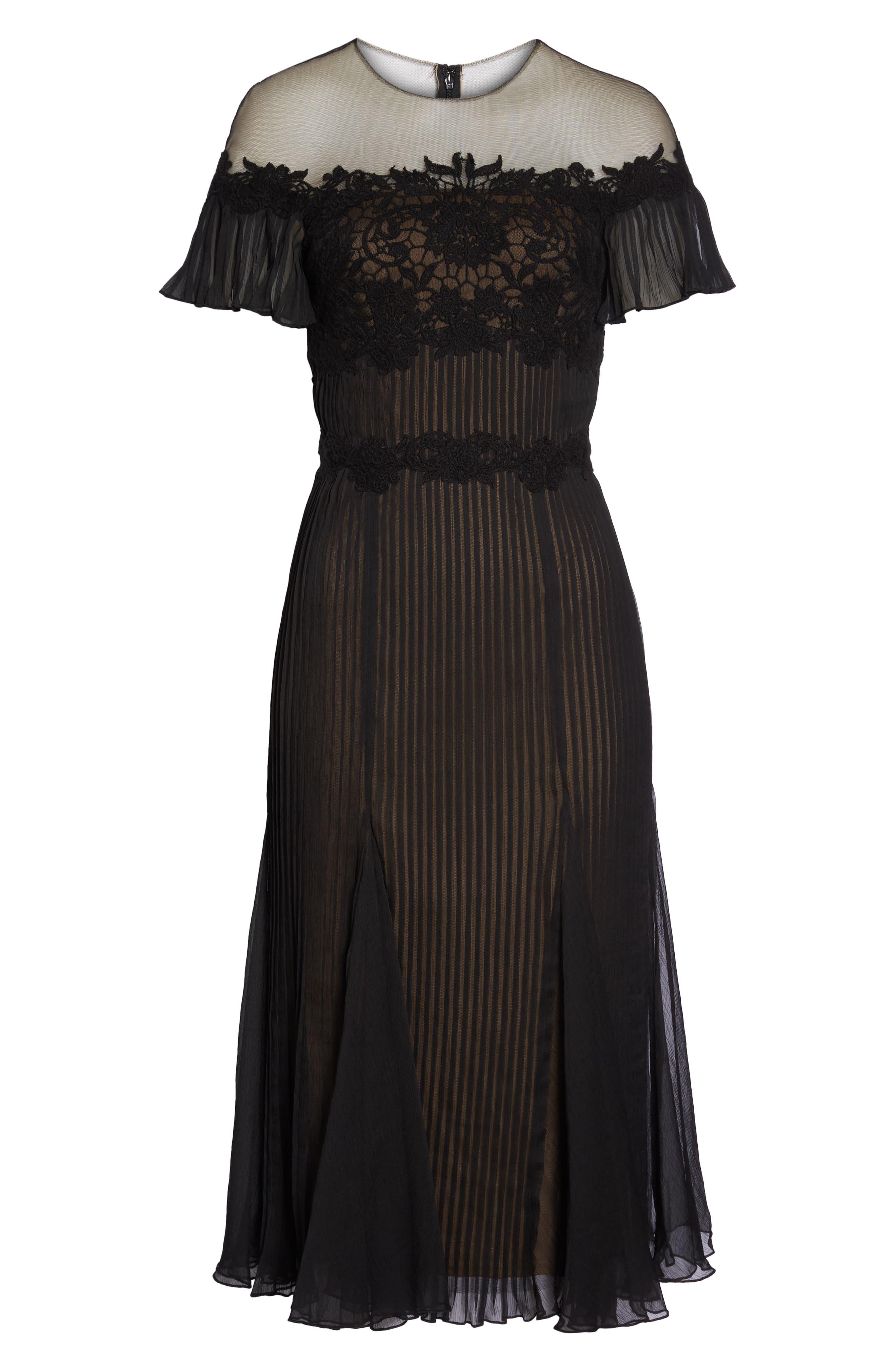 Lace & Chiffon A-Line Dress,                             Alternate thumbnail 6, color,                             Black/ Nude