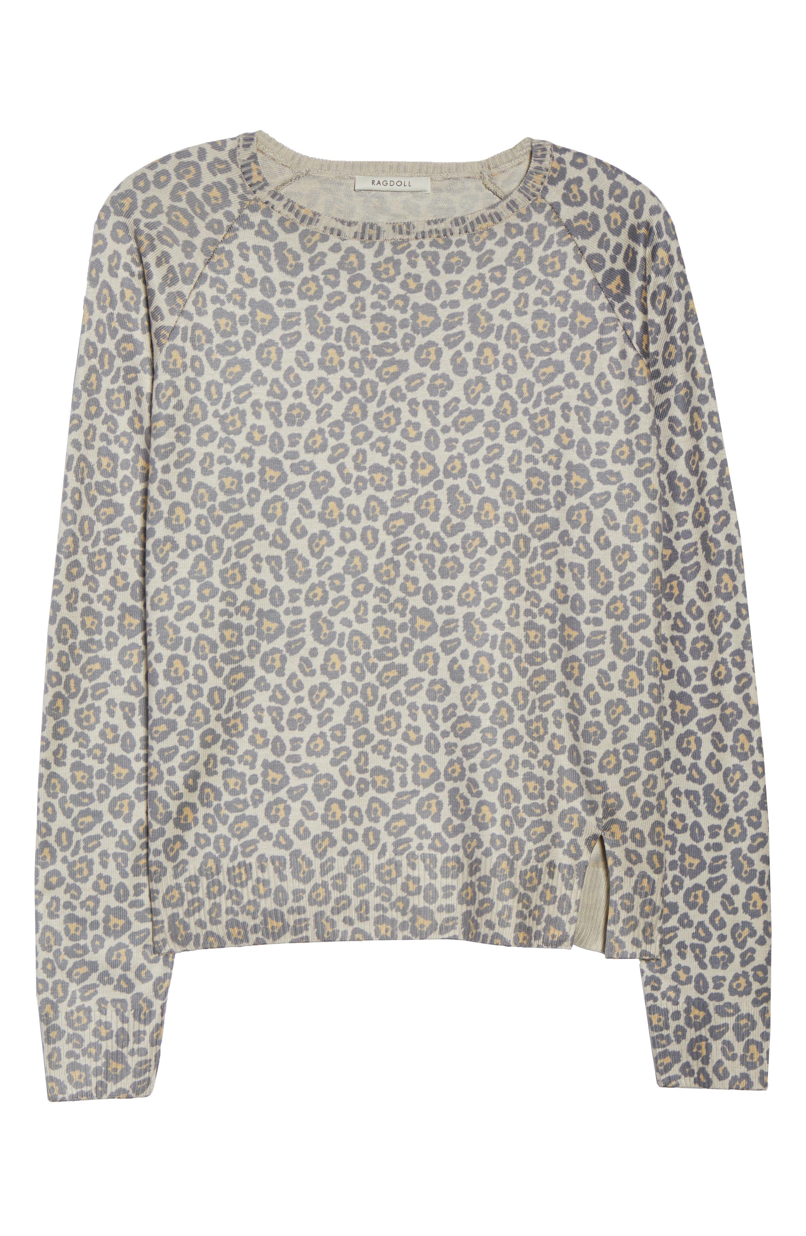Leopard Print Sweatshirt,                             Alternate thumbnail 6, color,                             Beige Leopard