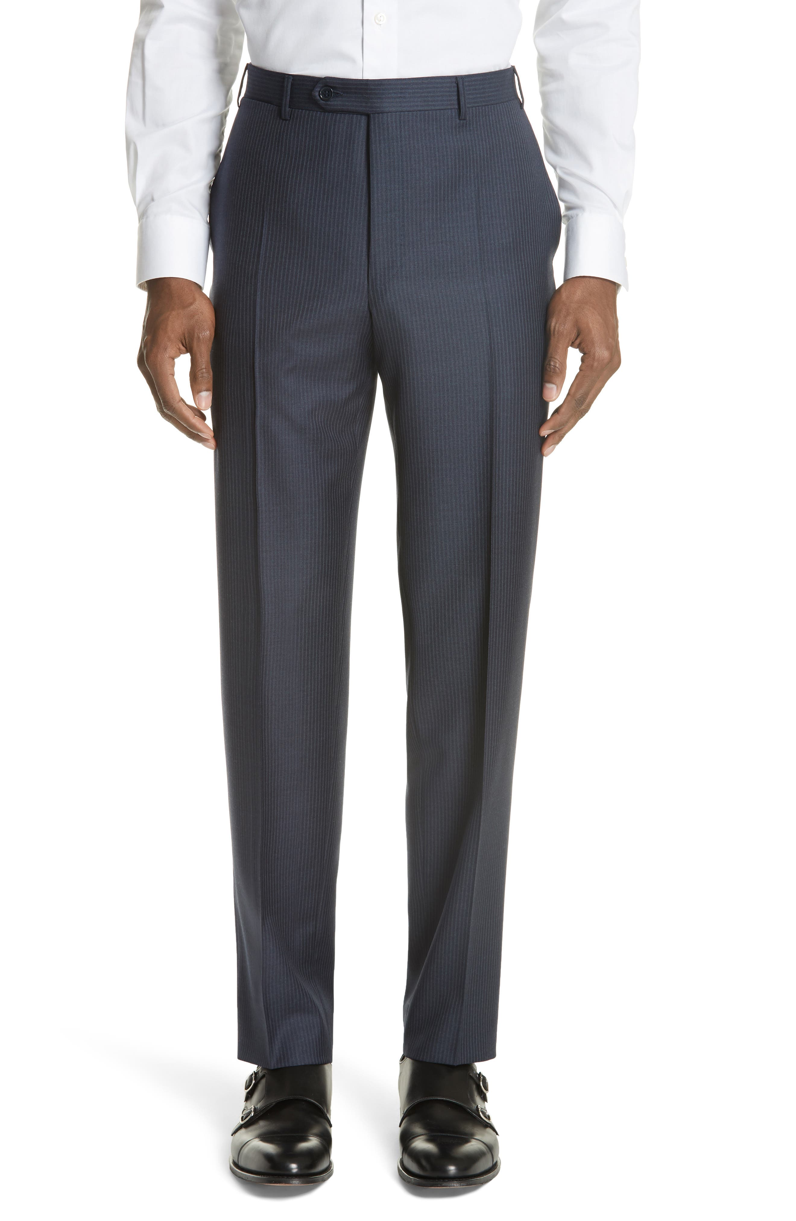 Classic Fit Pinstripe Wool Suit,                             Alternate thumbnail 6, color,                             Navy
