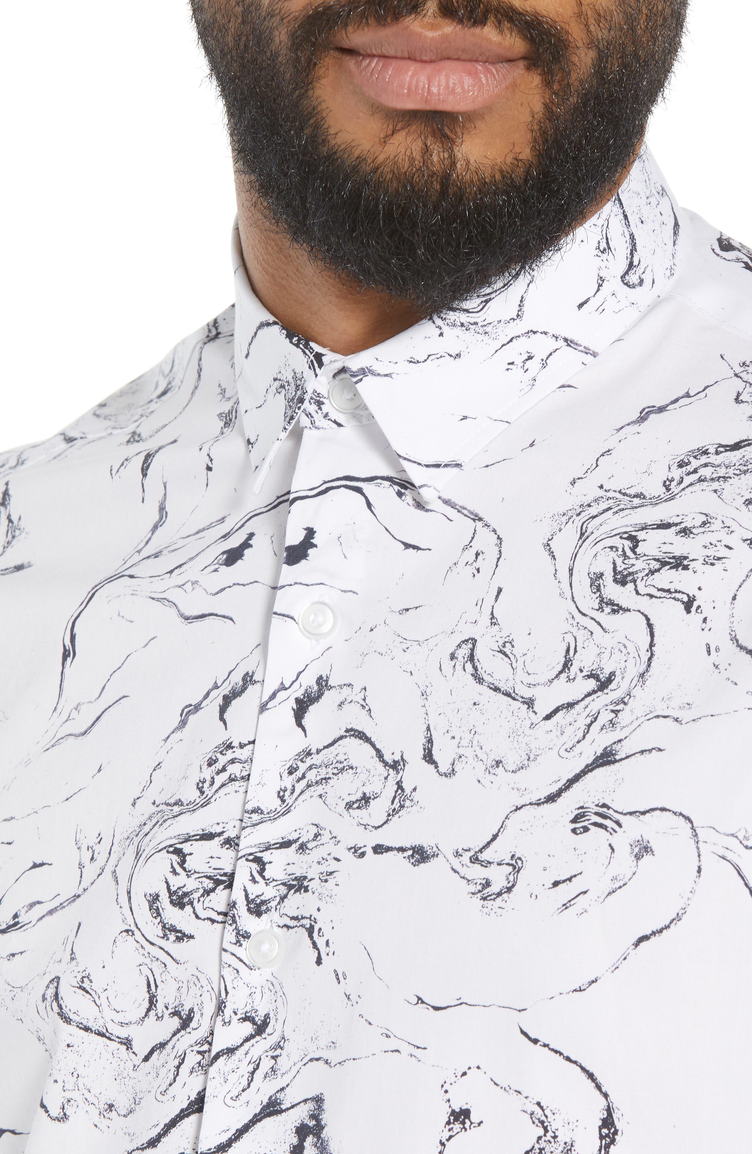 Trim Fit Stretch Print Short Sleeve Sport Shirt,                             Alternate thumbnail 2, color,                             White Marble Print