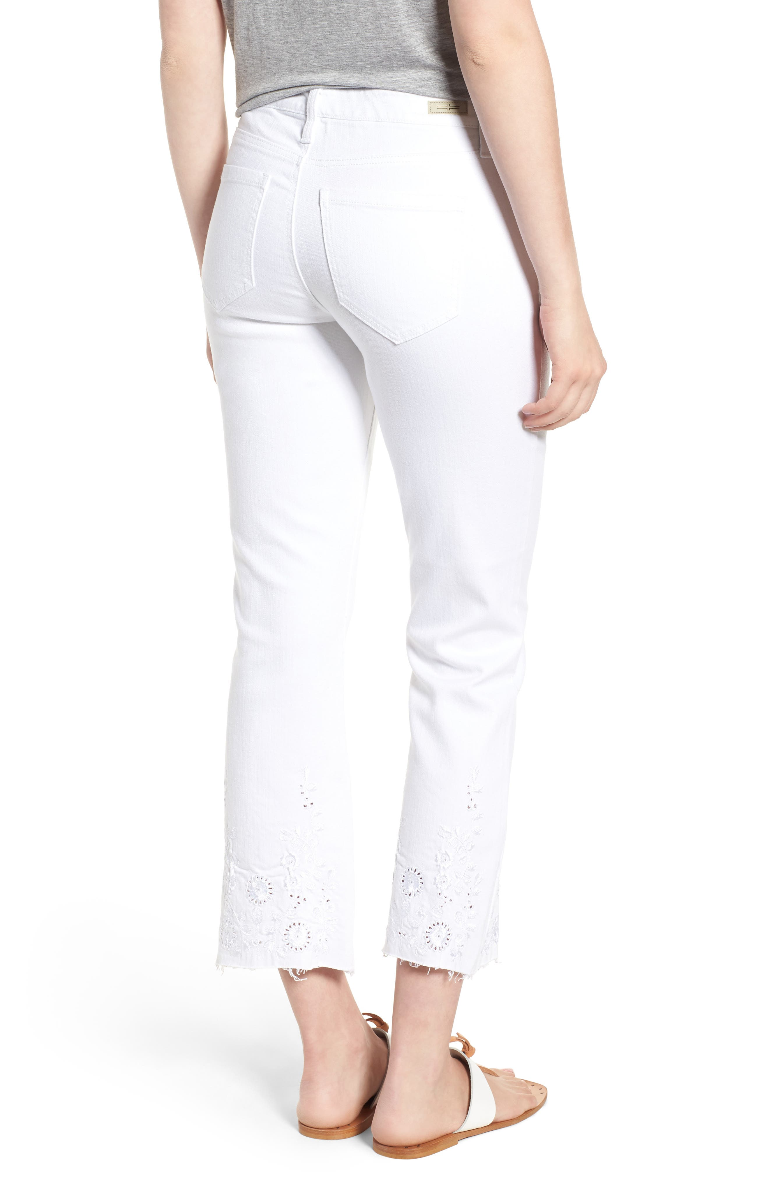 Hannah Embroidered Raw Hem Jeans,                             Alternate thumbnail 2, color,                             Bright White