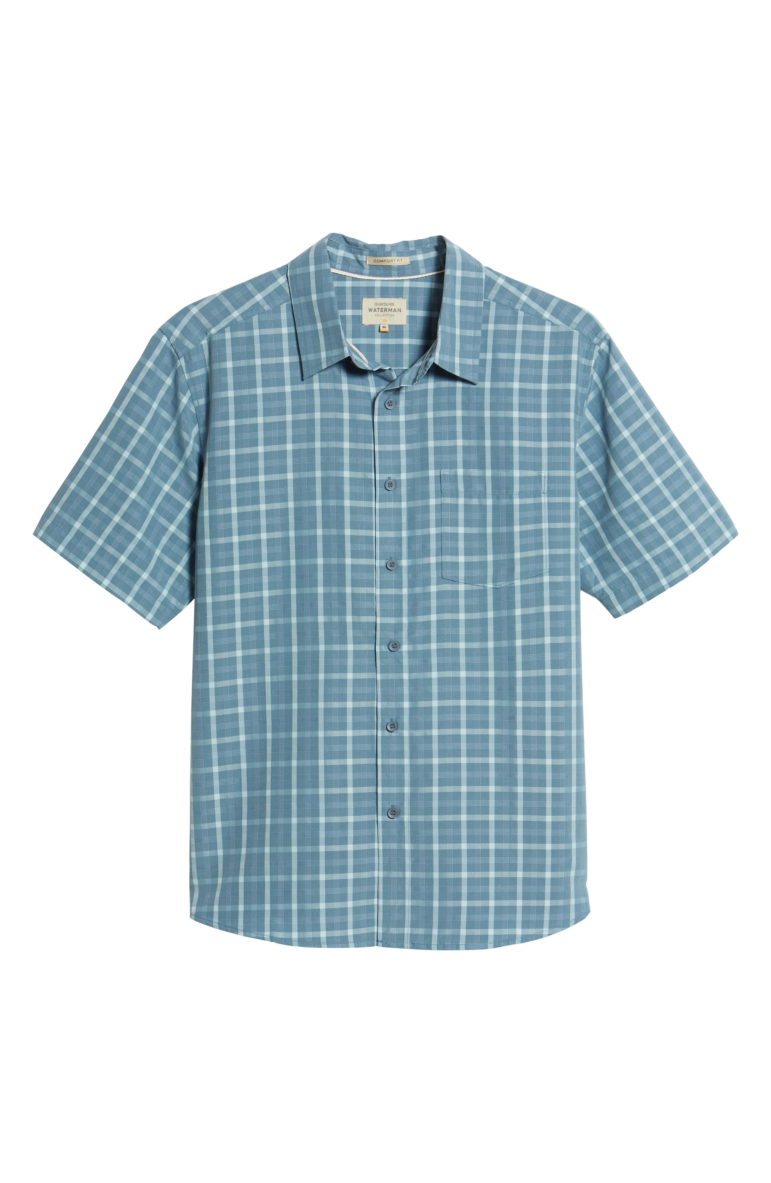 Checked Light Classic Fit Sport Shirt,                             Alternate thumbnail 6, color,                             Blue Shadow