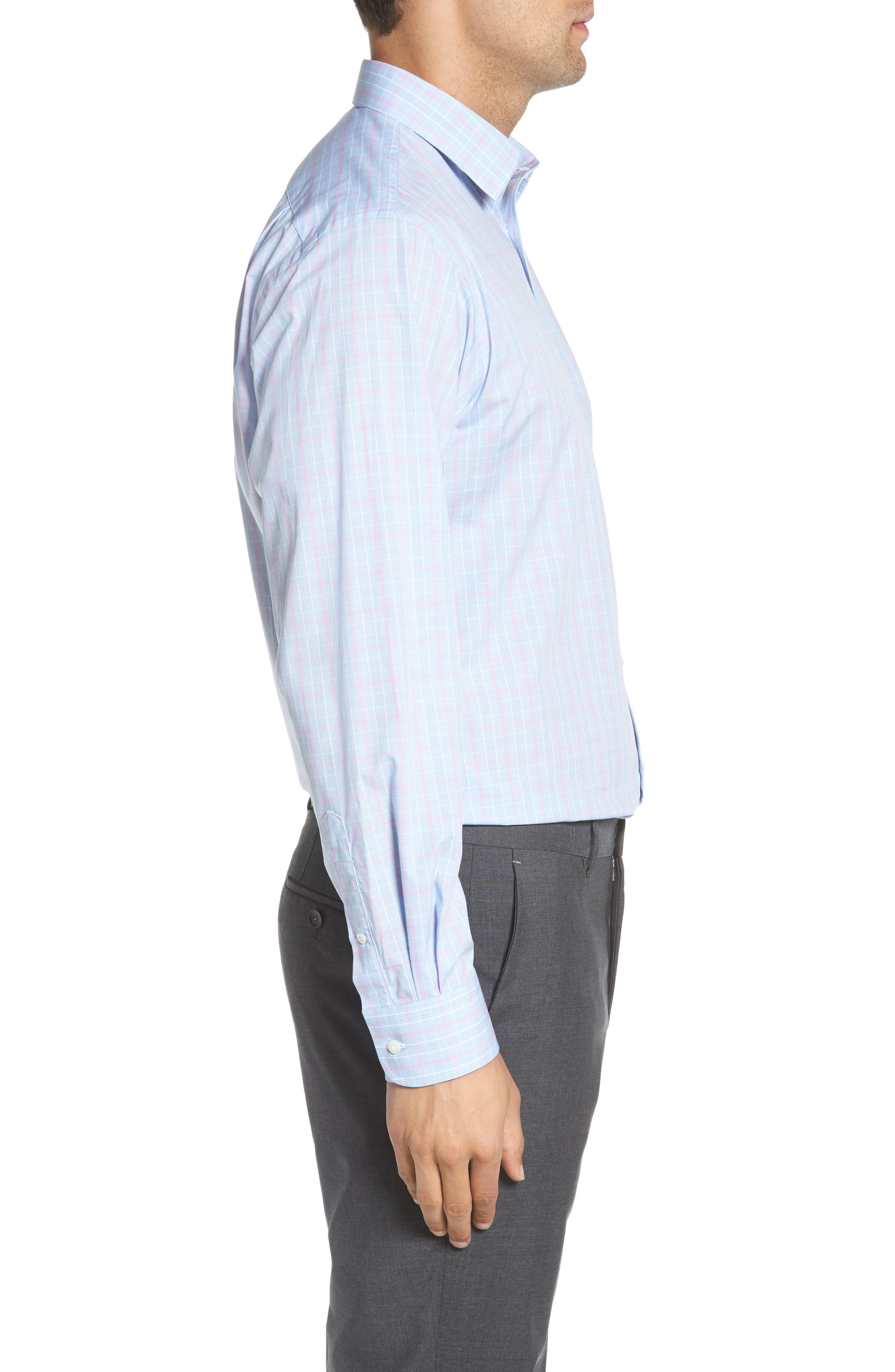 Traditional Fit Plaid Dress Shirt,                             Alternate thumbnail 4, color,                             Blue Hydrangea